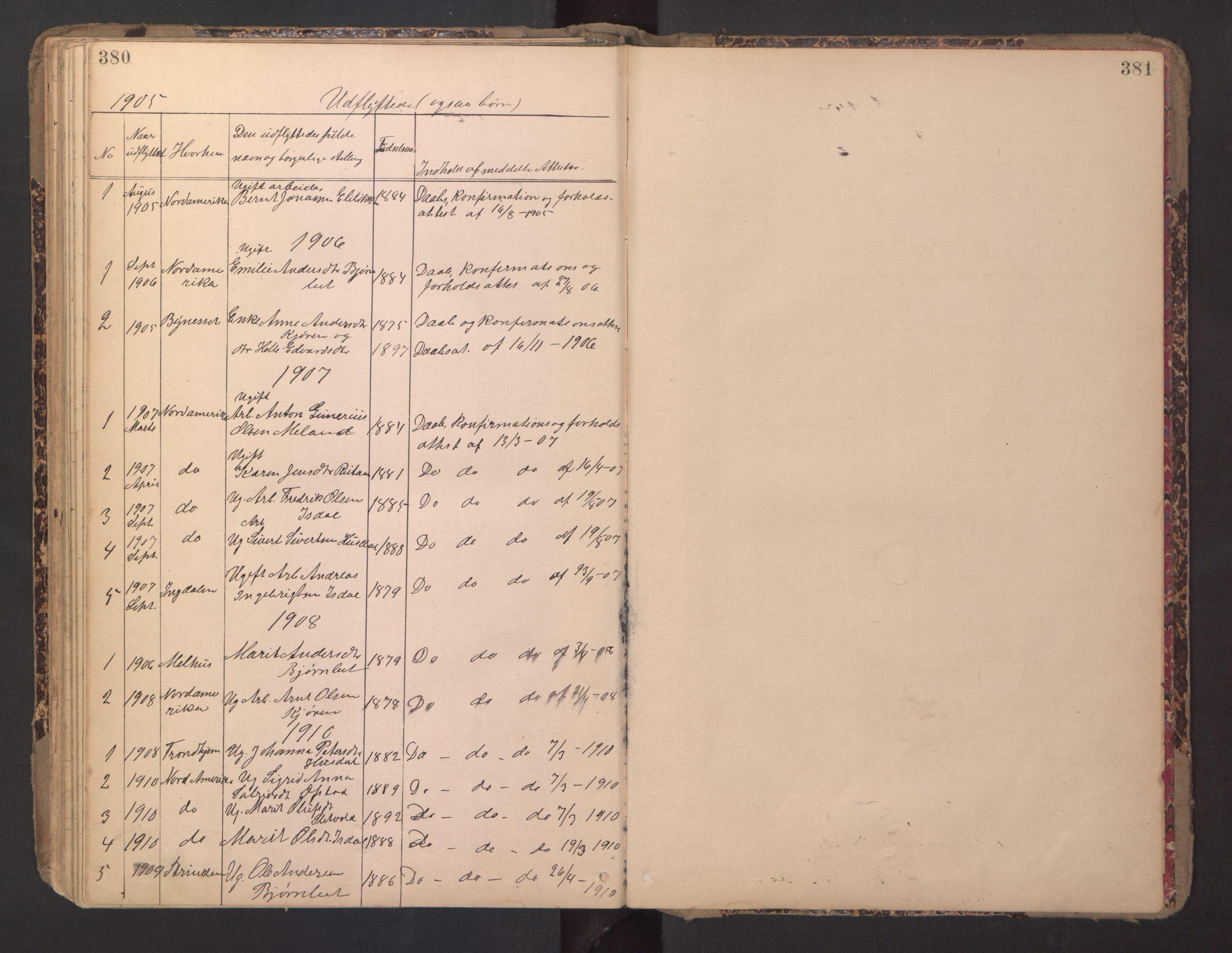 SAT, Ministerialprotokoller, klokkerbøker og fødselsregistre - Sør-Trøndelag, 670/L0837: Klokkerbok nr. 670C01, 1905-1946, s. 380-381