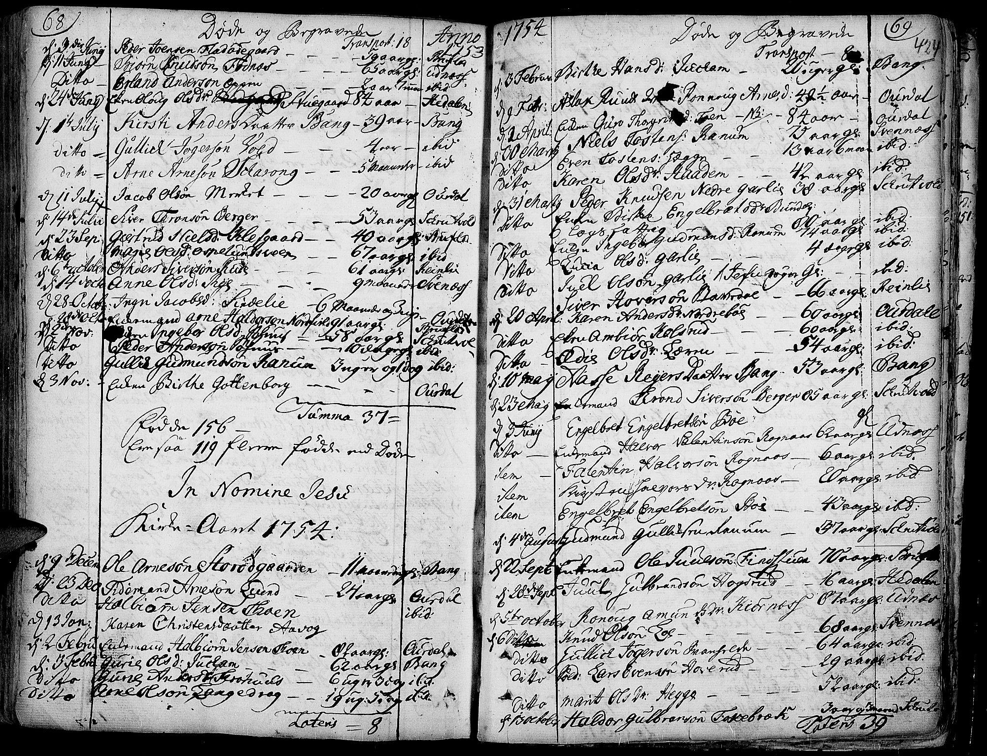 SAH, Aurdal prestekontor, Ministerialbok nr. 4, 1730-1762, s. 68-69