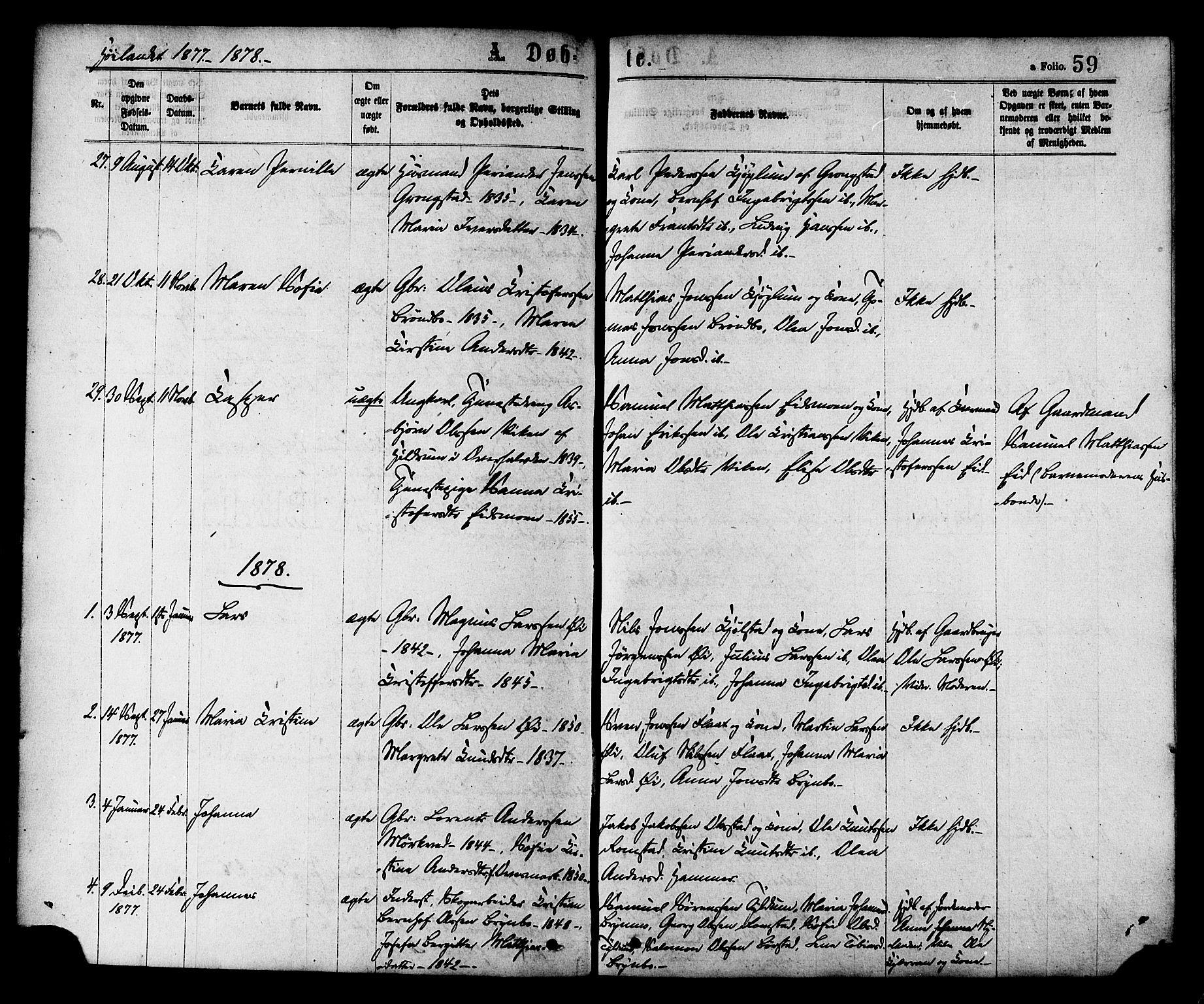 SAT, Ministerialprotokoller, klokkerbøker og fødselsregistre - Nord-Trøndelag, 758/L0516: Ministerialbok nr. 758A03 /2, 1869-1879, s. 59