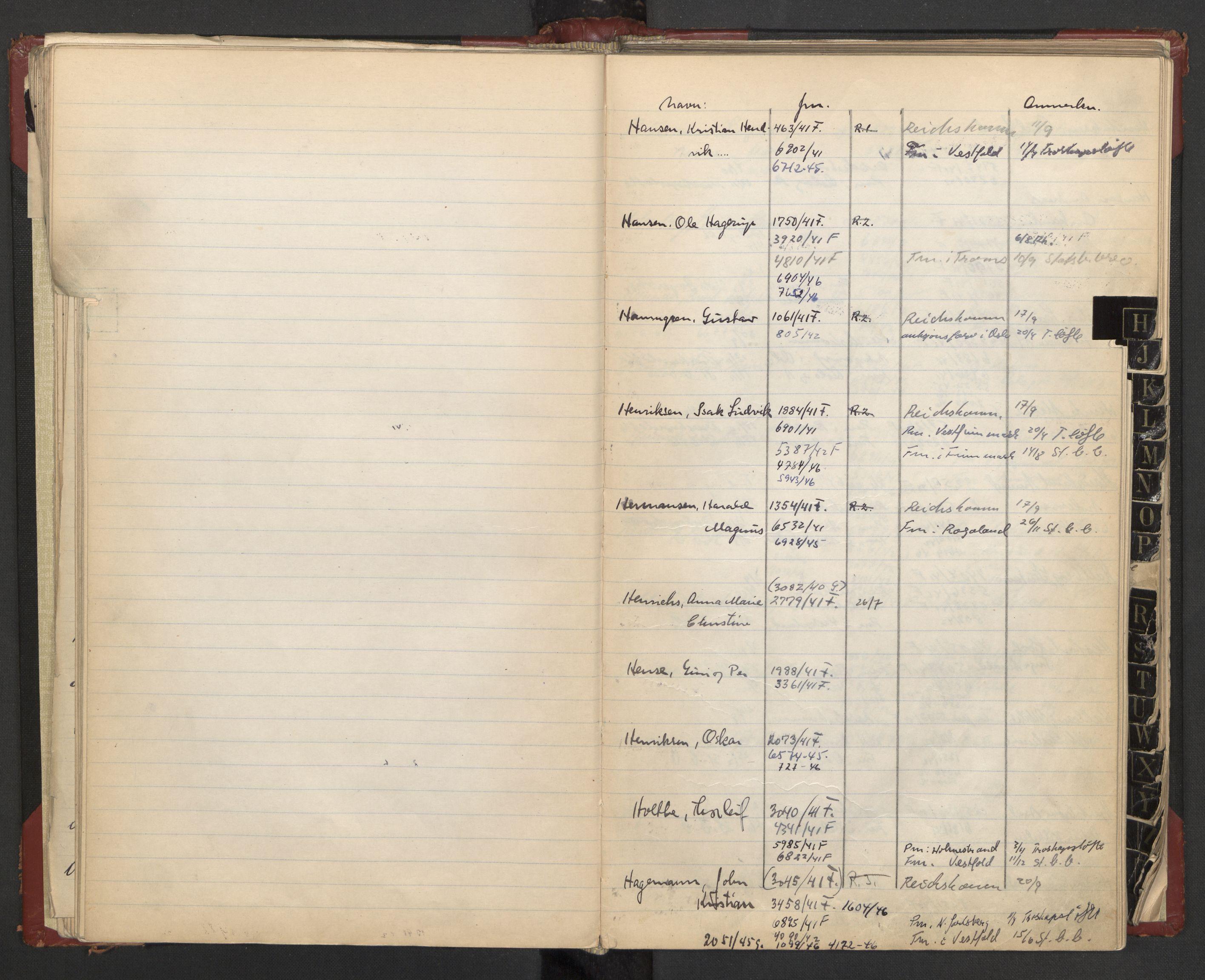 RA, Justisdepartementet, 3. politikontor P3, C/Cc/L0002: Journalregister over statsborgersaker, 1940-1946, s. 36