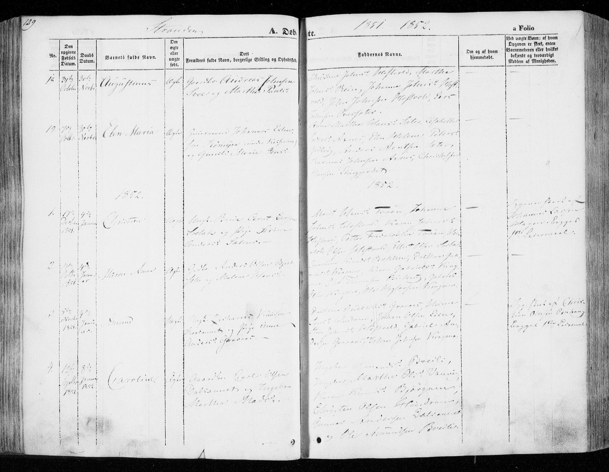 SAT, Ministerialprotokoller, klokkerbøker og fødselsregistre - Nord-Trøndelag, 701/L0007: Ministerialbok nr. 701A07 /2, 1842-1854, s. 129