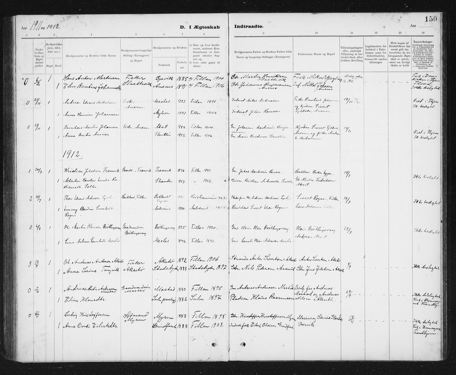 SAT, Ministerialprotokoller, klokkerbøker og fødselsregistre - Sør-Trøndelag, 637/L0563: Klokkerbok nr. 637C04, 1899-1940, s. 150