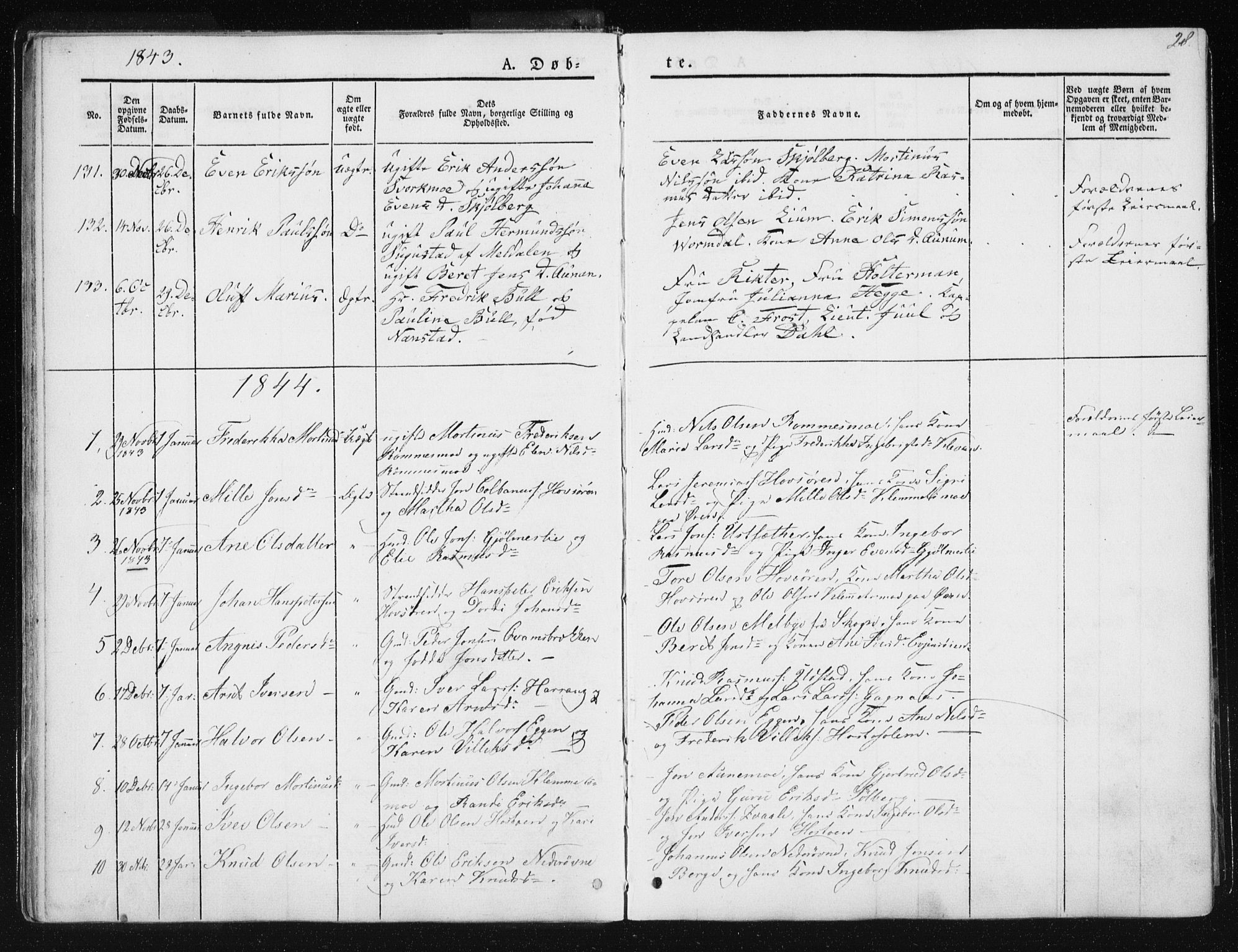 SAT, Ministerialprotokoller, klokkerbøker og fødselsregistre - Sør-Trøndelag, 668/L0805: Ministerialbok nr. 668A05, 1840-1853, s. 28