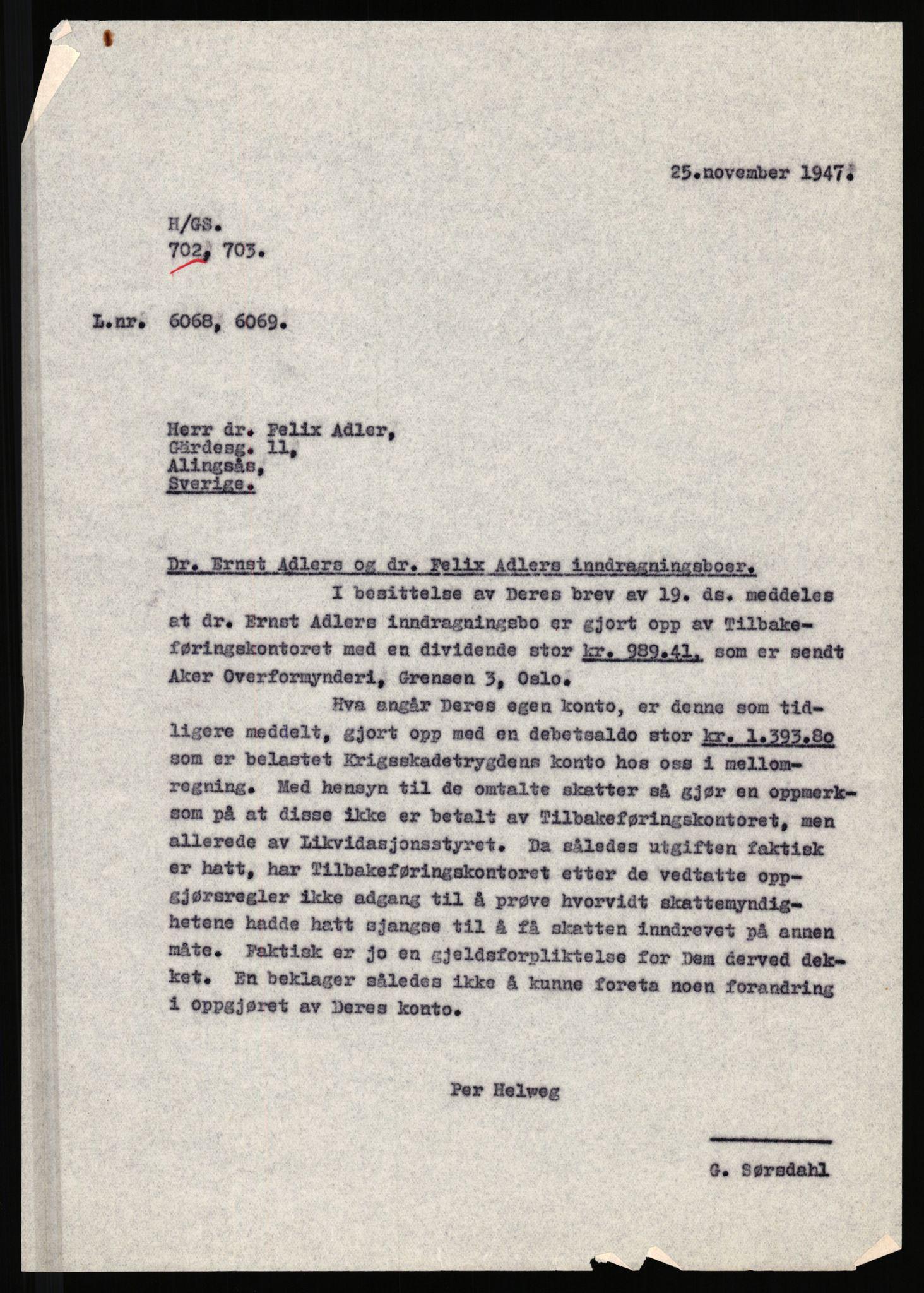 RA, Justisdepartementet, Tilbakeføringskontoret for inndratte formuer, H/Hc/Hcc/L0917: --, 1945-1947, s. 2