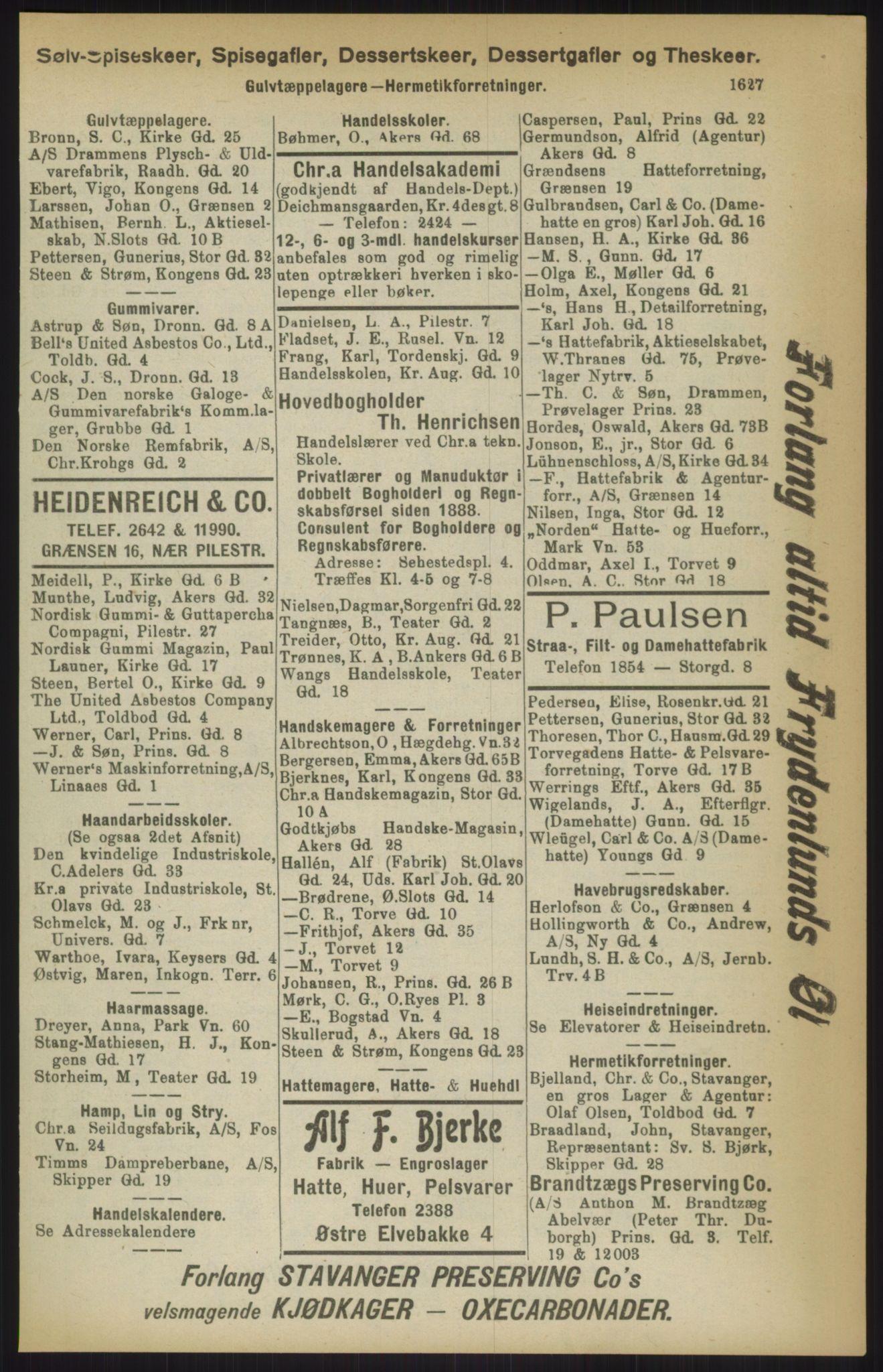 RA, Kristiania adressebok (publikasjon)*, 1911, s. 1627