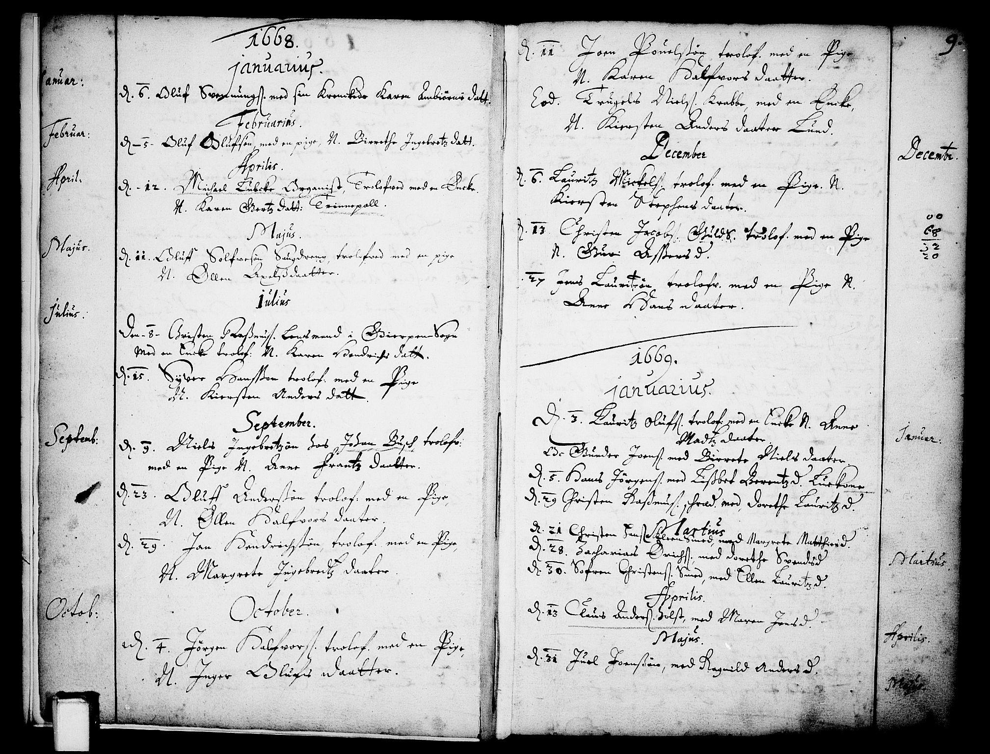 SAKO, Skien kirkebøker, F/Fa/L0001: Ministerialbok nr. 1, 1659-1679, s. 9