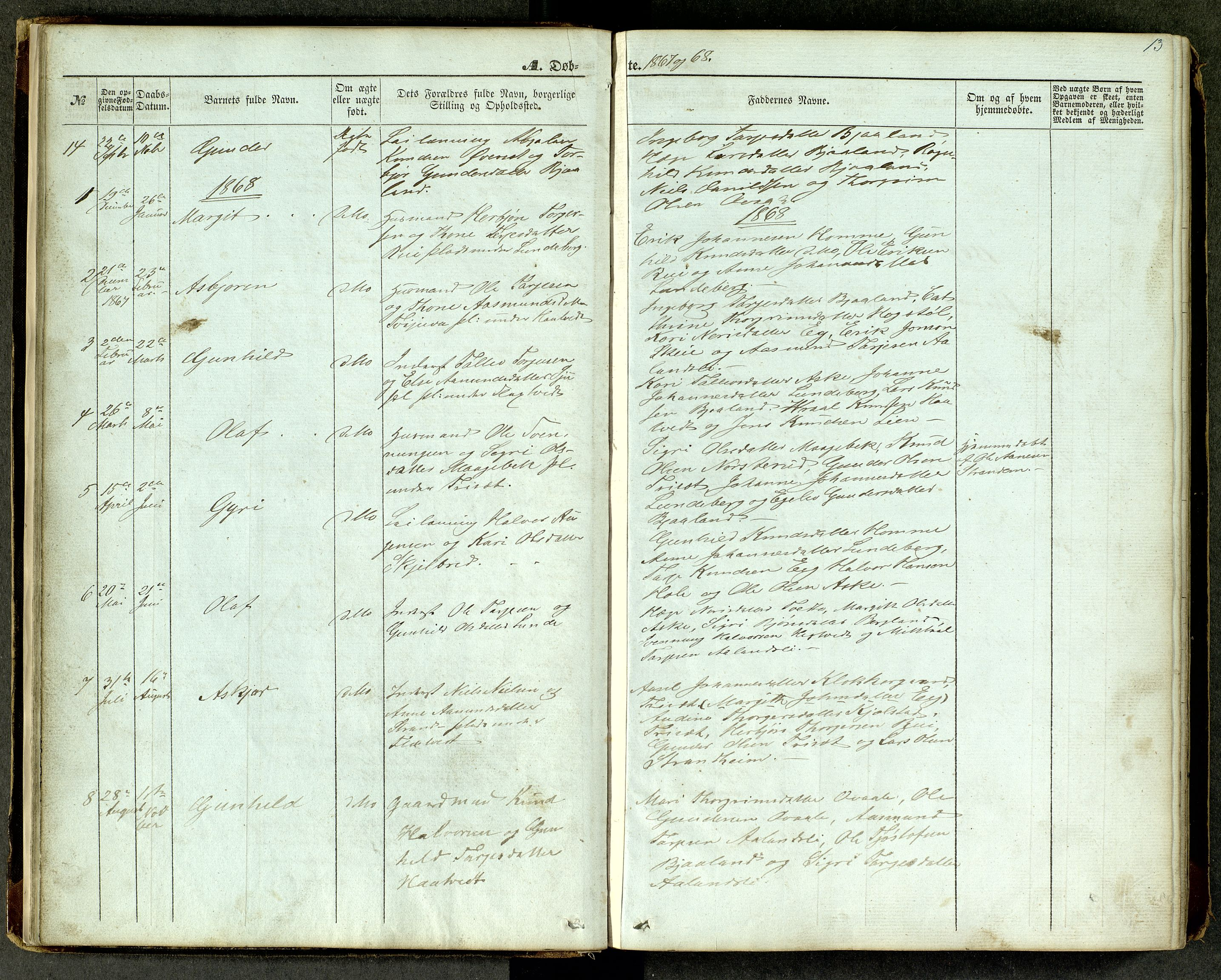 SAKO, Lårdal kirkebøker, G/Ga/L0002: Klokkerbok nr. I 2, 1861-1890, s. 13