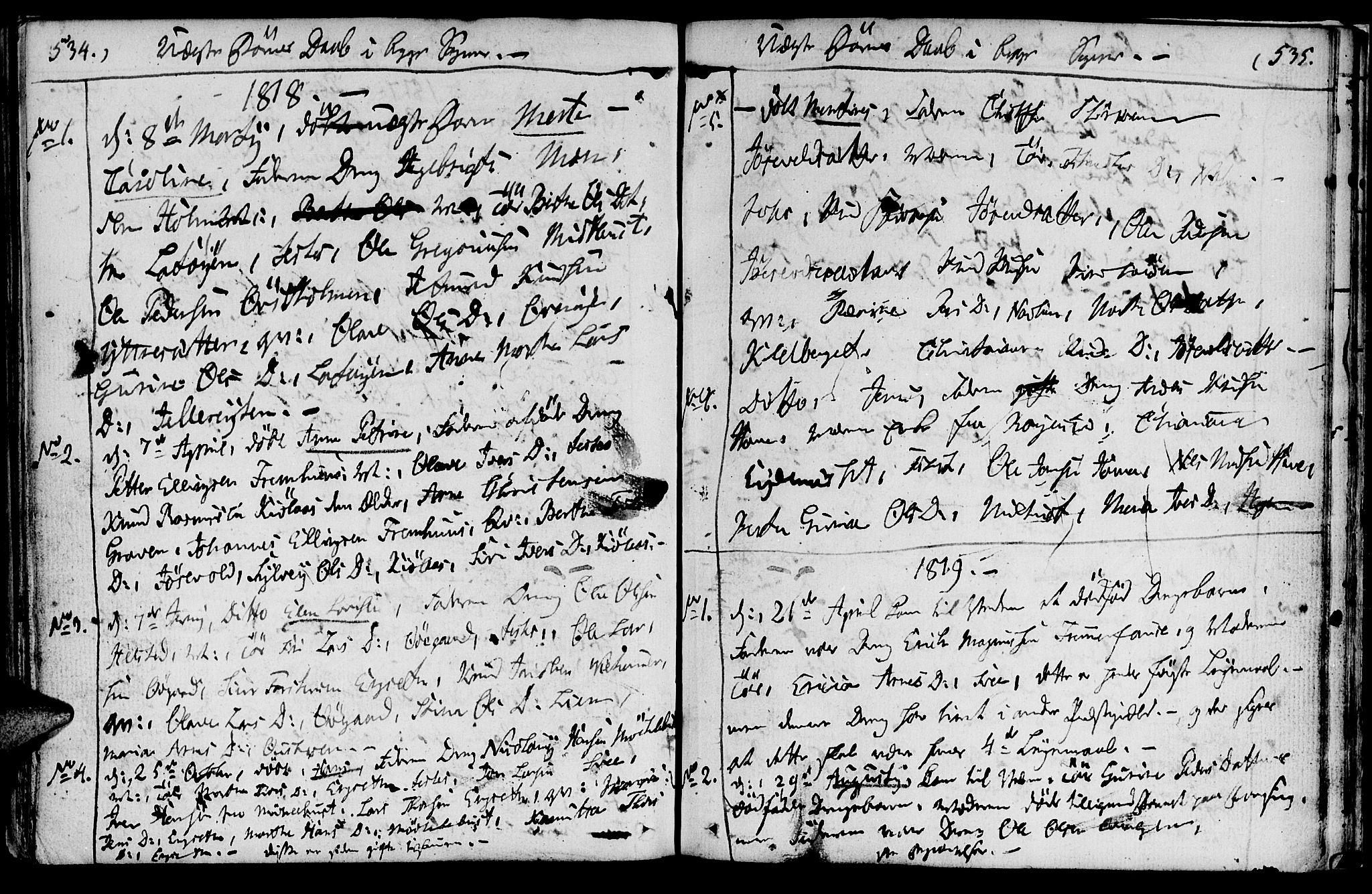 SAT, Ministerialprotokoller, klokkerbøker og fødselsregistre - Møre og Romsdal, 520/L0272: Ministerialbok nr. 520A02, 1802-1827, s. 534-535