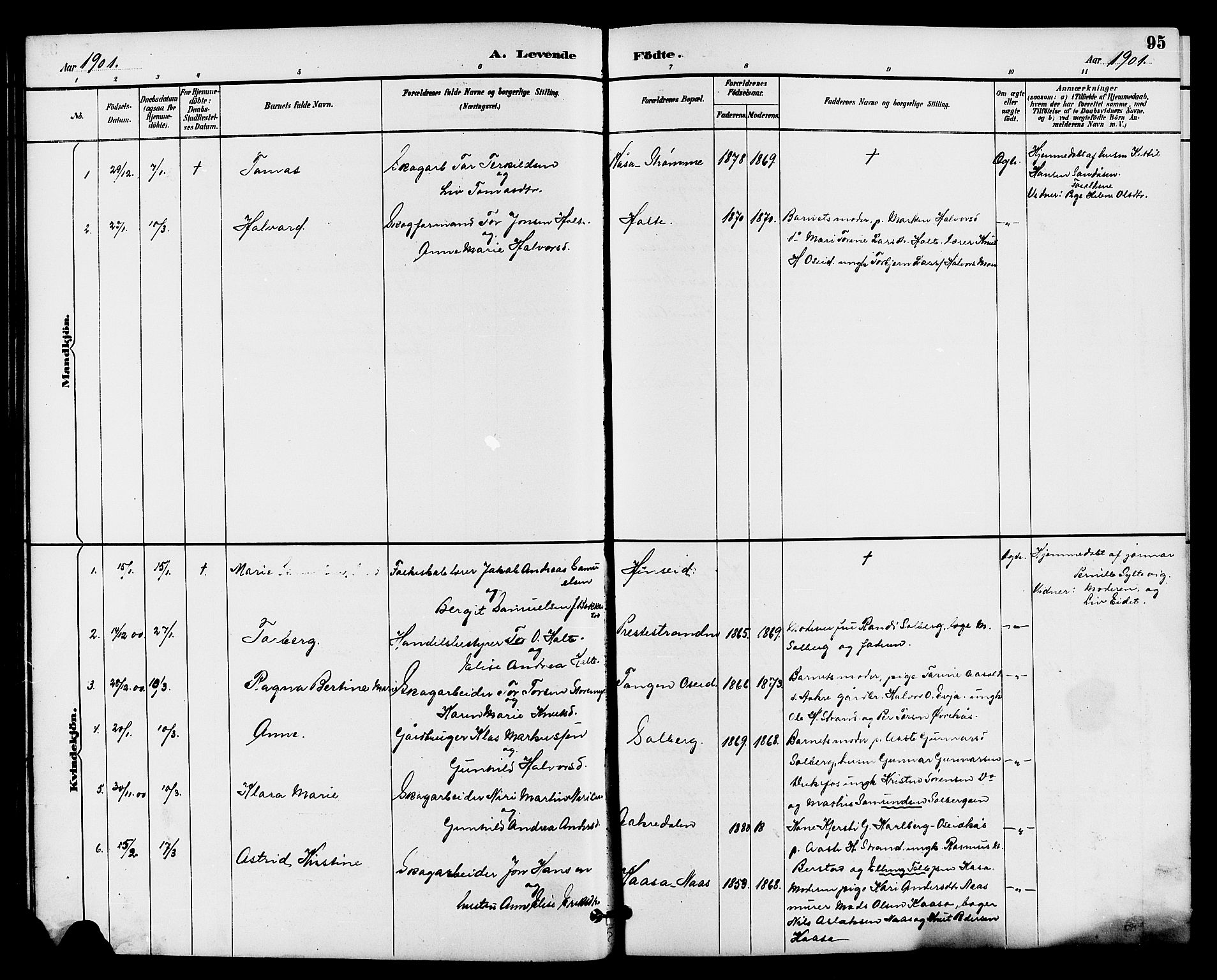 SAKO, Drangedal kirkebøker, G/Ga/L0003: Klokkerbok nr. I 3, 1887-1906, s. 95