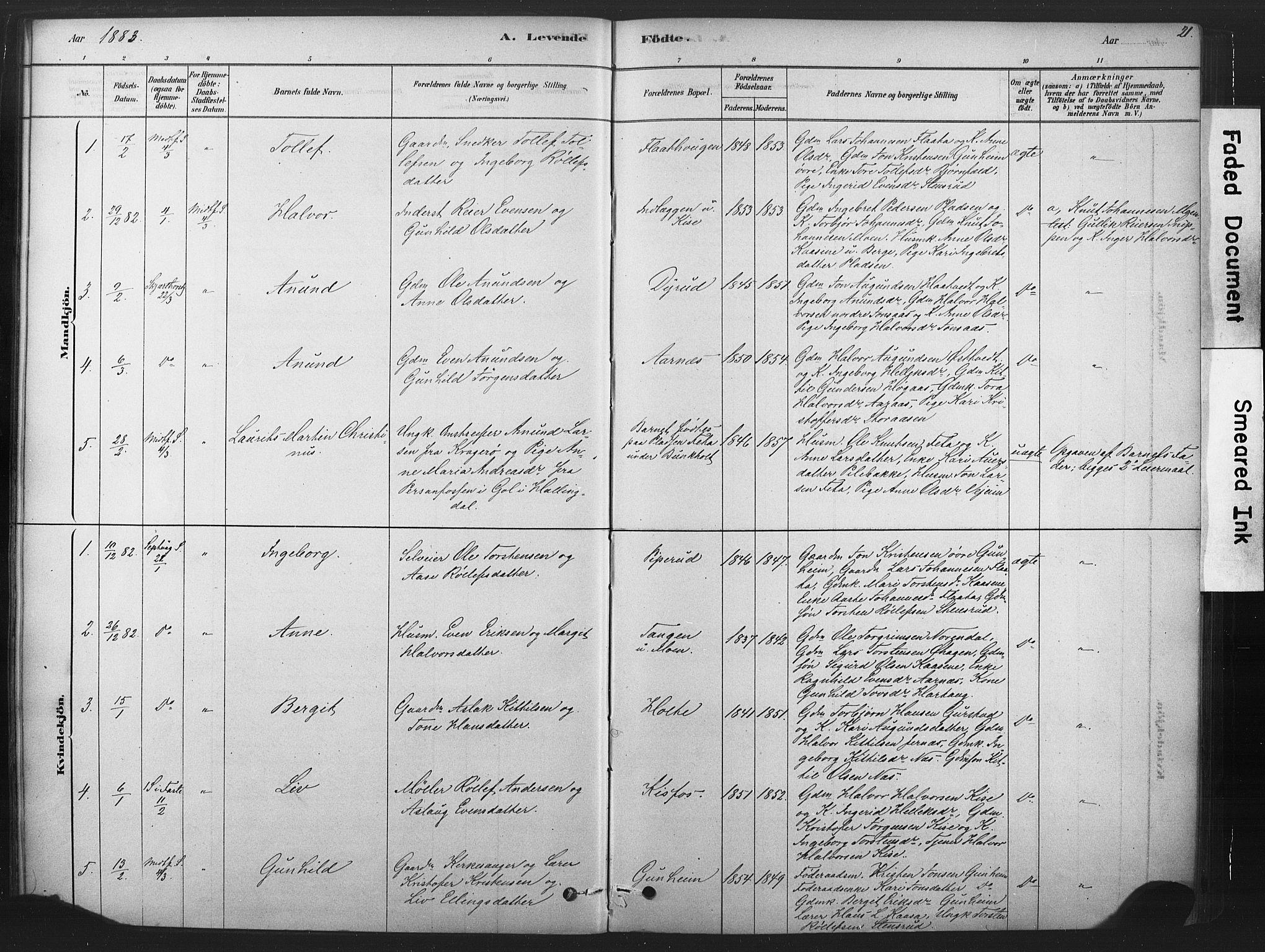 SAKO, Sauherad kirkebøker, F/Fb/L0002: Ministerialbok nr. II 2, 1878-1901, s. 21