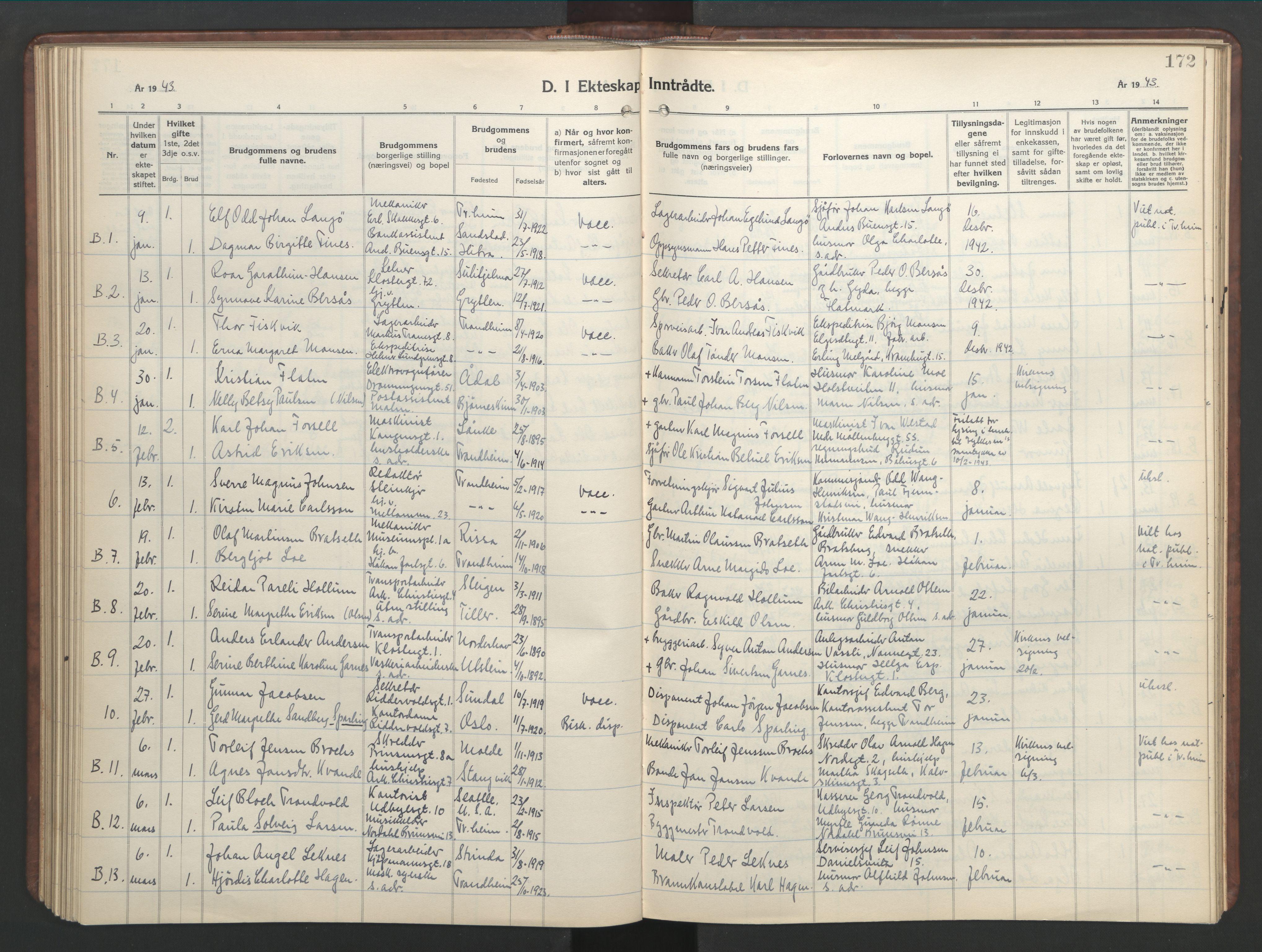 SAT, Ministerialprotokoller, klokkerbøker og fødselsregistre - Sør-Trøndelag, 601/L0101: Klokkerbok nr. 601C19, 1935-1946, s. 172