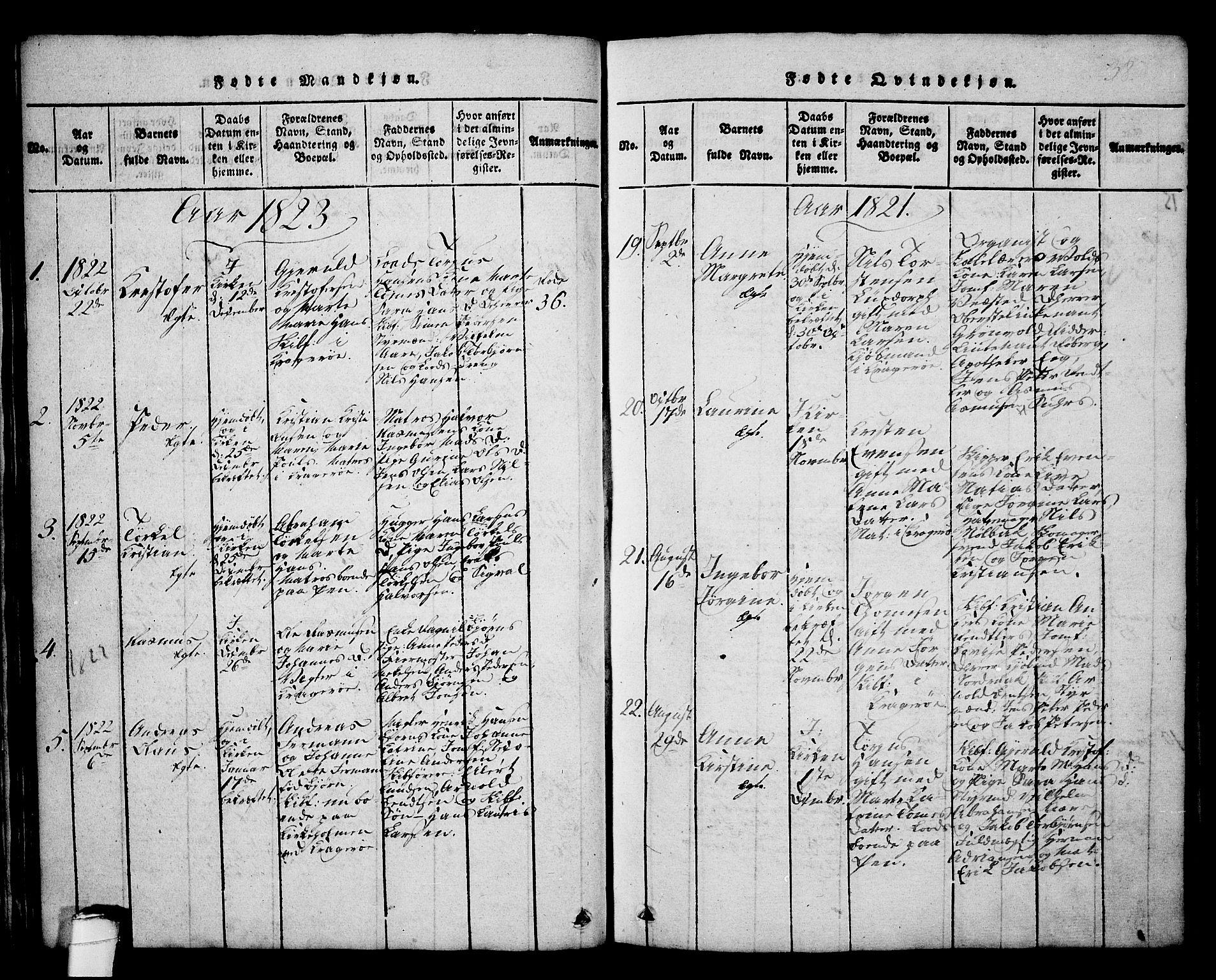 SAKO, Kragerø kirkebøker, G/Ga/L0002: Klokkerbok nr. 2, 1814-1831, s. 38