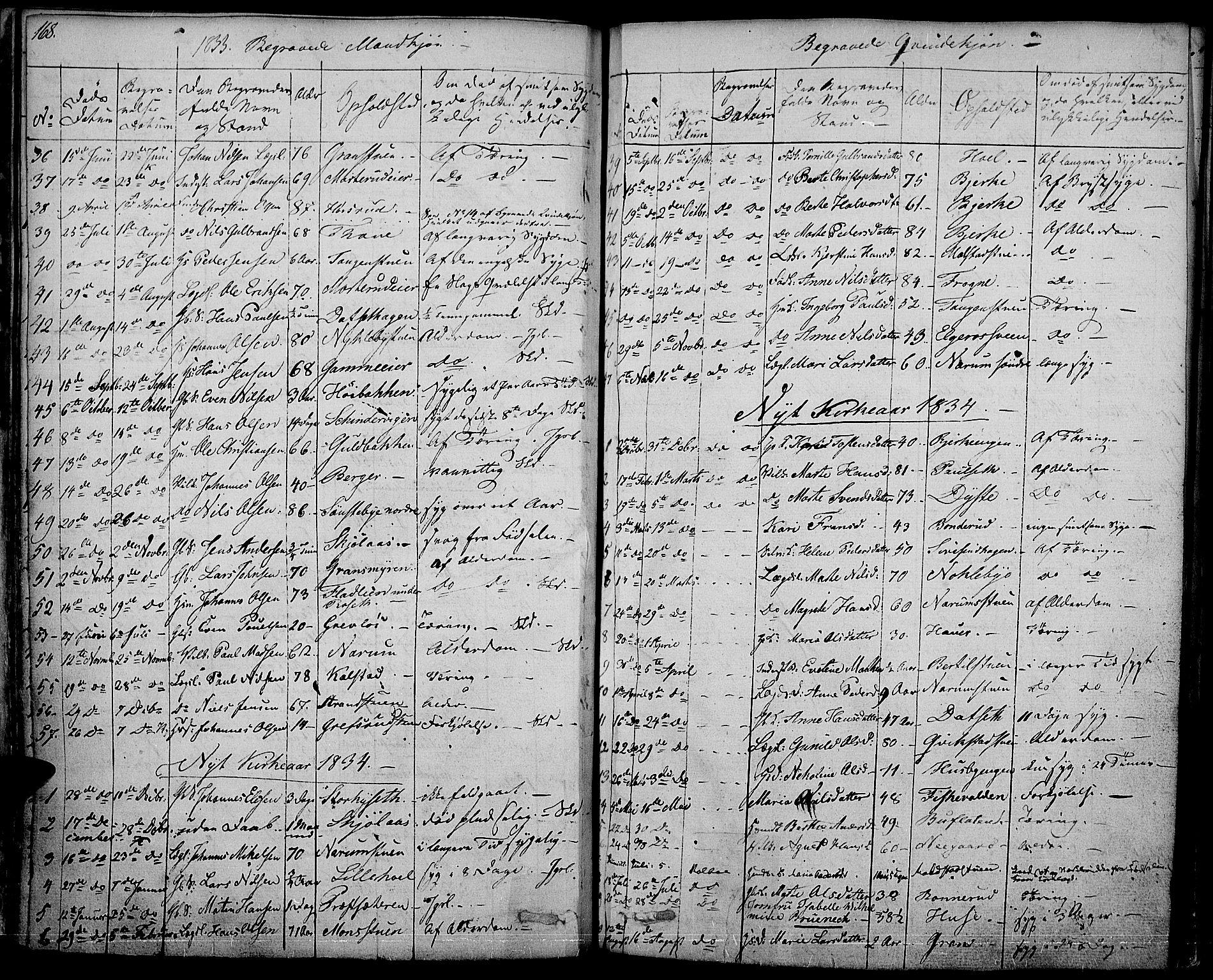 SAH, Vestre Toten prestekontor, Ministerialbok nr. 2, 1825-1837, s. 168