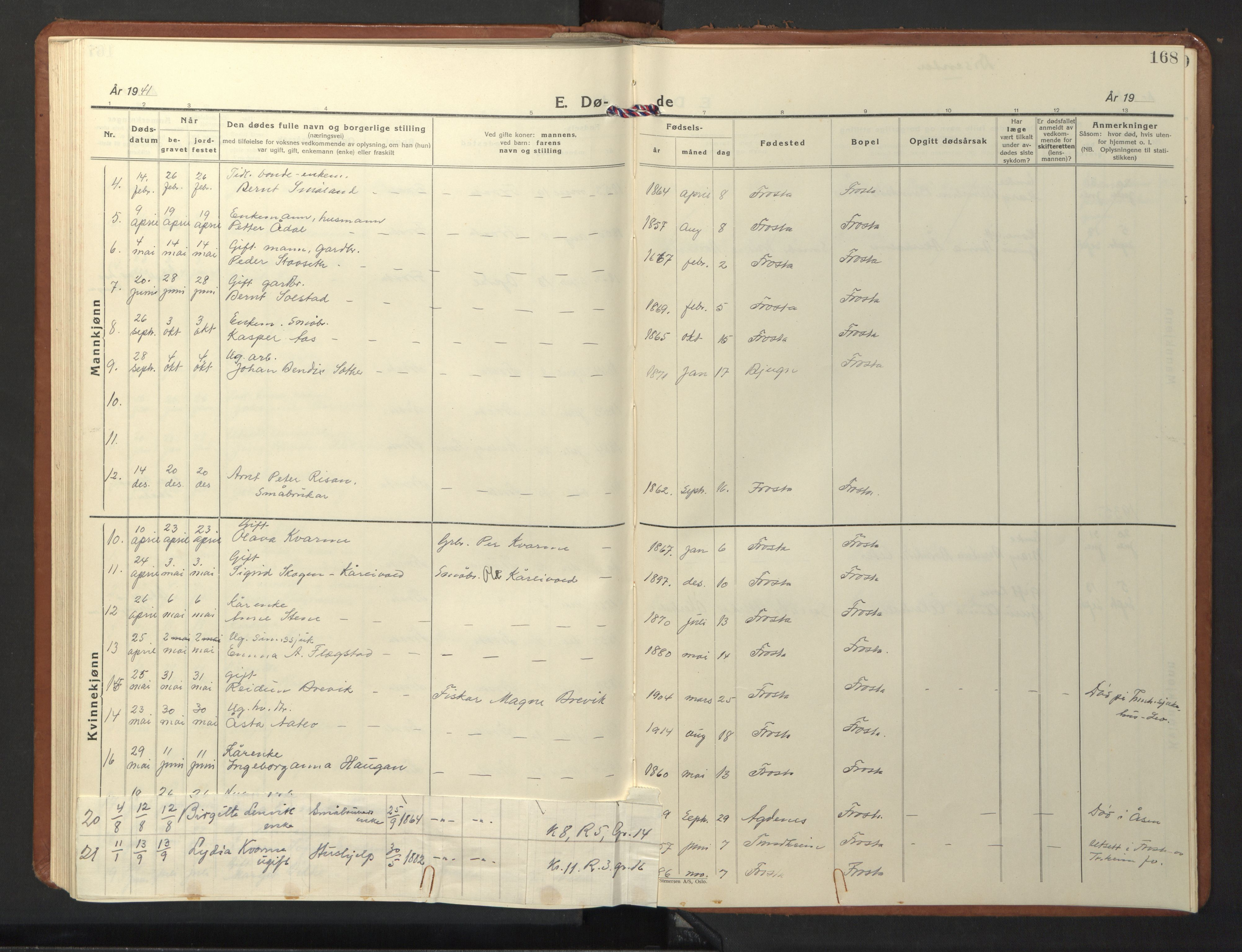 SAT, Ministerialprotokoller, klokkerbøker og fødselsregistre - Nord-Trøndelag, 713/L0125: Klokkerbok nr. 713C02, 1931-1941, s. 168