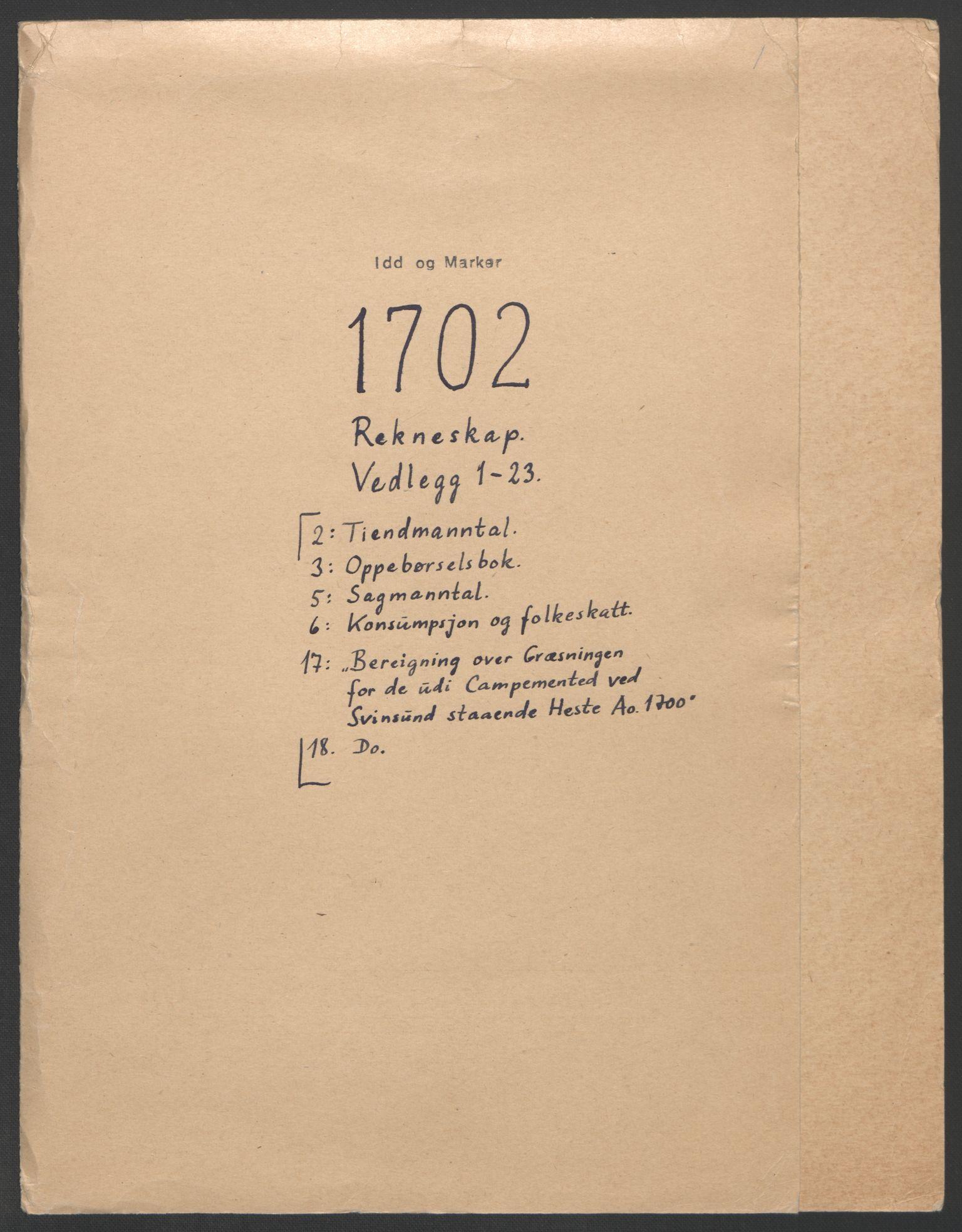 RA, Rentekammeret inntil 1814, Reviderte regnskaper, Fogderegnskap, R01/L0016: Fogderegnskap Idd og Marker, 1702-1703, s. 2