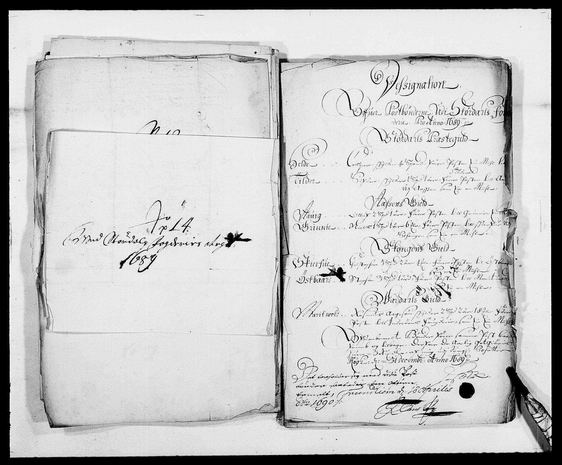 RA, Rentekammeret inntil 1814, Reviderte regnskaper, Fogderegnskap, R62/L4183: Fogderegnskap Stjørdal og Verdal, 1687-1689, s. 419
