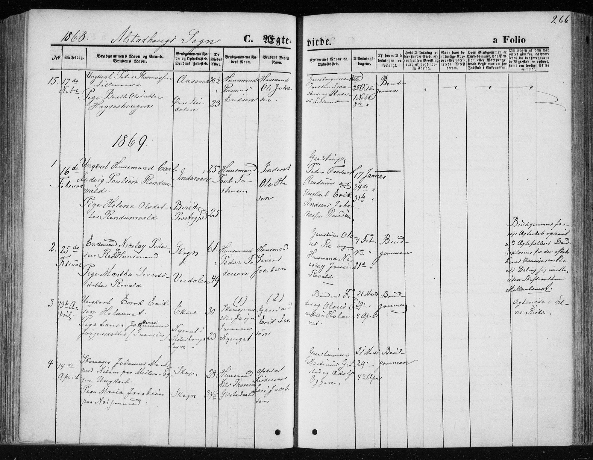 SAT, Ministerialprotokoller, klokkerbøker og fødselsregistre - Nord-Trøndelag, 717/L0157: Ministerialbok nr. 717A08 /1, 1863-1877, s. 266