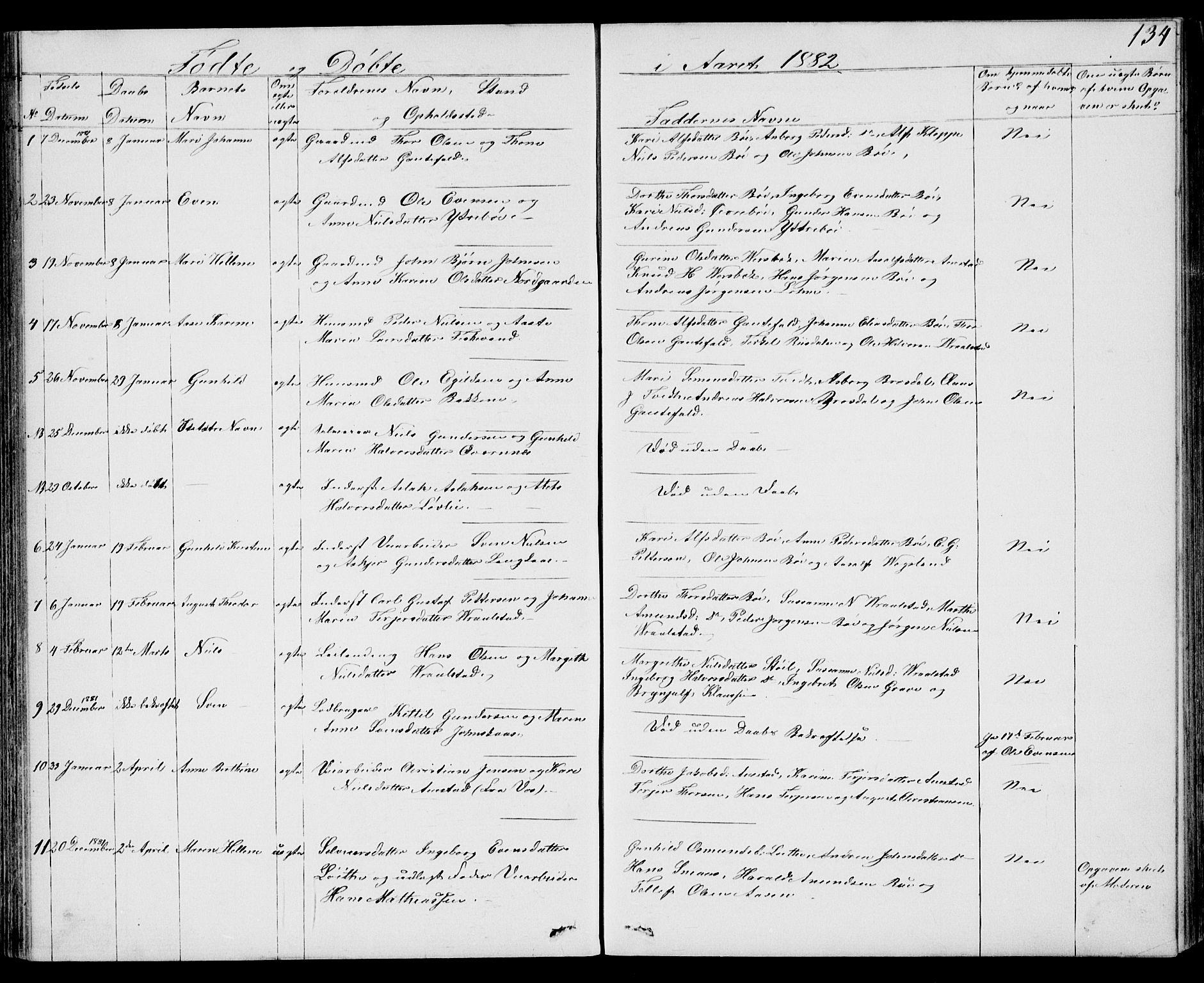 SAKO, Drangedal kirkebøker, G/Gb/L0001: Klokkerbok nr. II 1, 1856-1894, s. 134