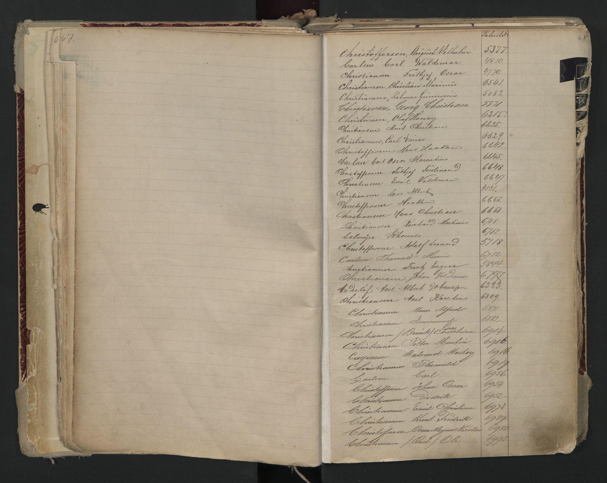 SAO, Oslo sjømannskontor, F/Fa/L0002: Register for Kristiania krets, 1866-1930, s. 67-68