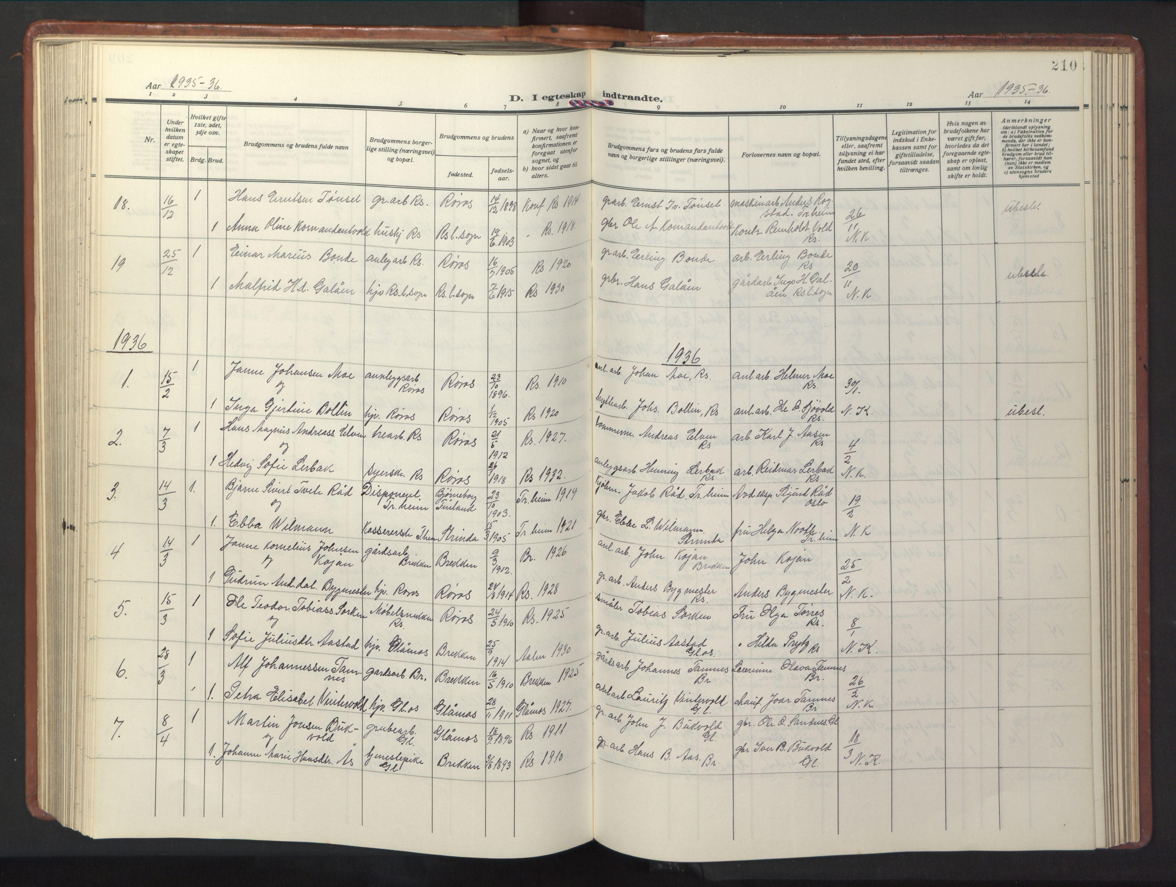 SAT, Ministerialprotokoller, klokkerbøker og fødselsregistre - Sør-Trøndelag, 681/L0943: Klokkerbok nr. 681C07, 1926-1954, s. 210