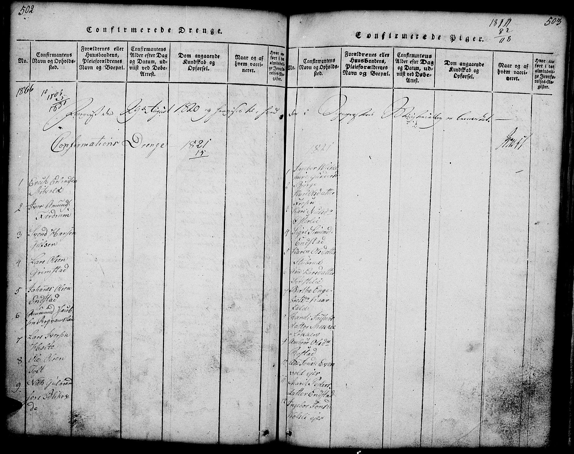 SAH, Gausdal prestekontor, Klokkerbok nr. 1, 1817-1848, s. 502-503