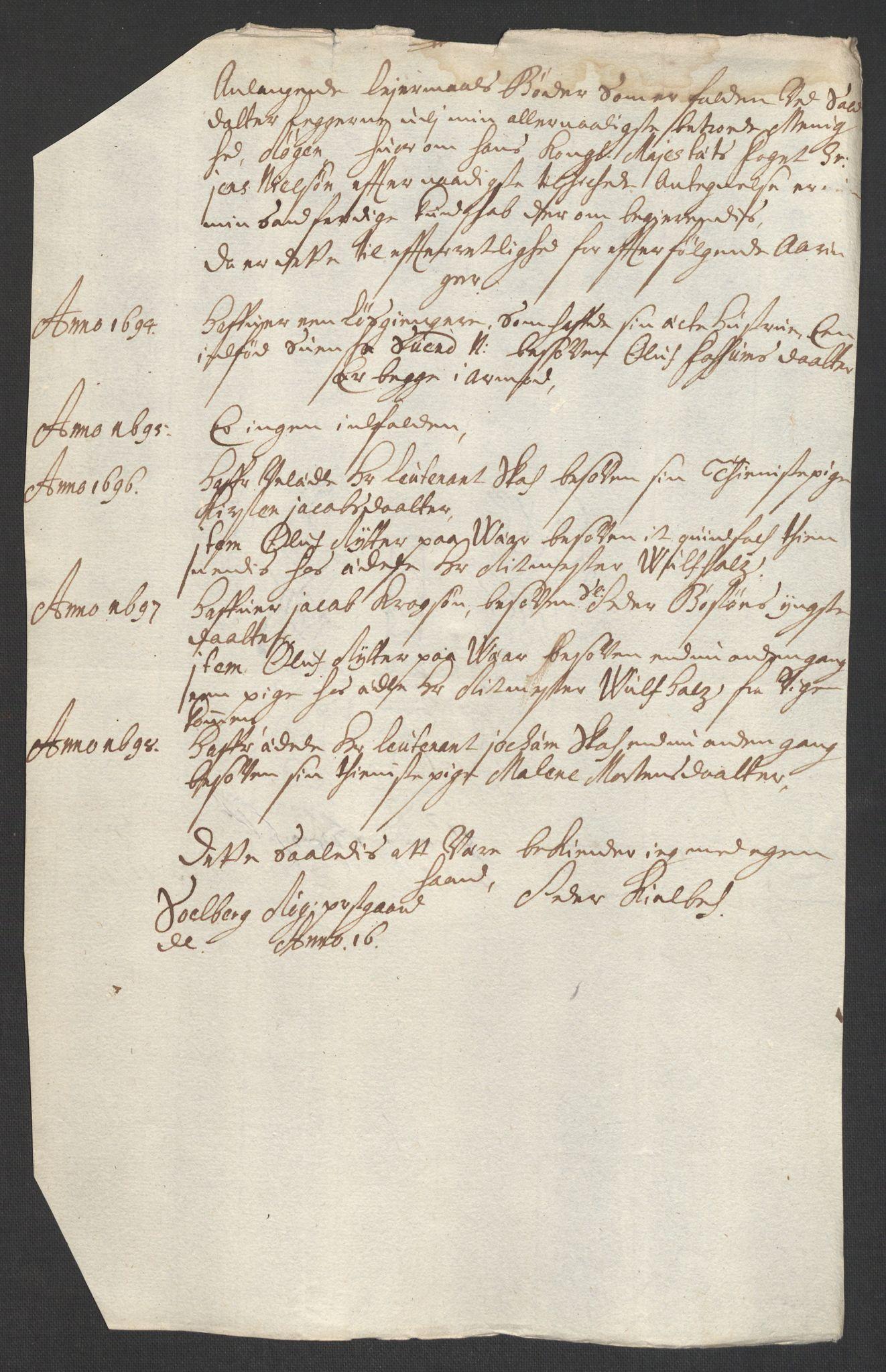 RA, Rentekammeret inntil 1814, Reviderte regnskaper, Fogderegnskap, R30/L1695: Fogderegnskap Hurum, Røyken, Eiker og Lier, 1697, s. 203