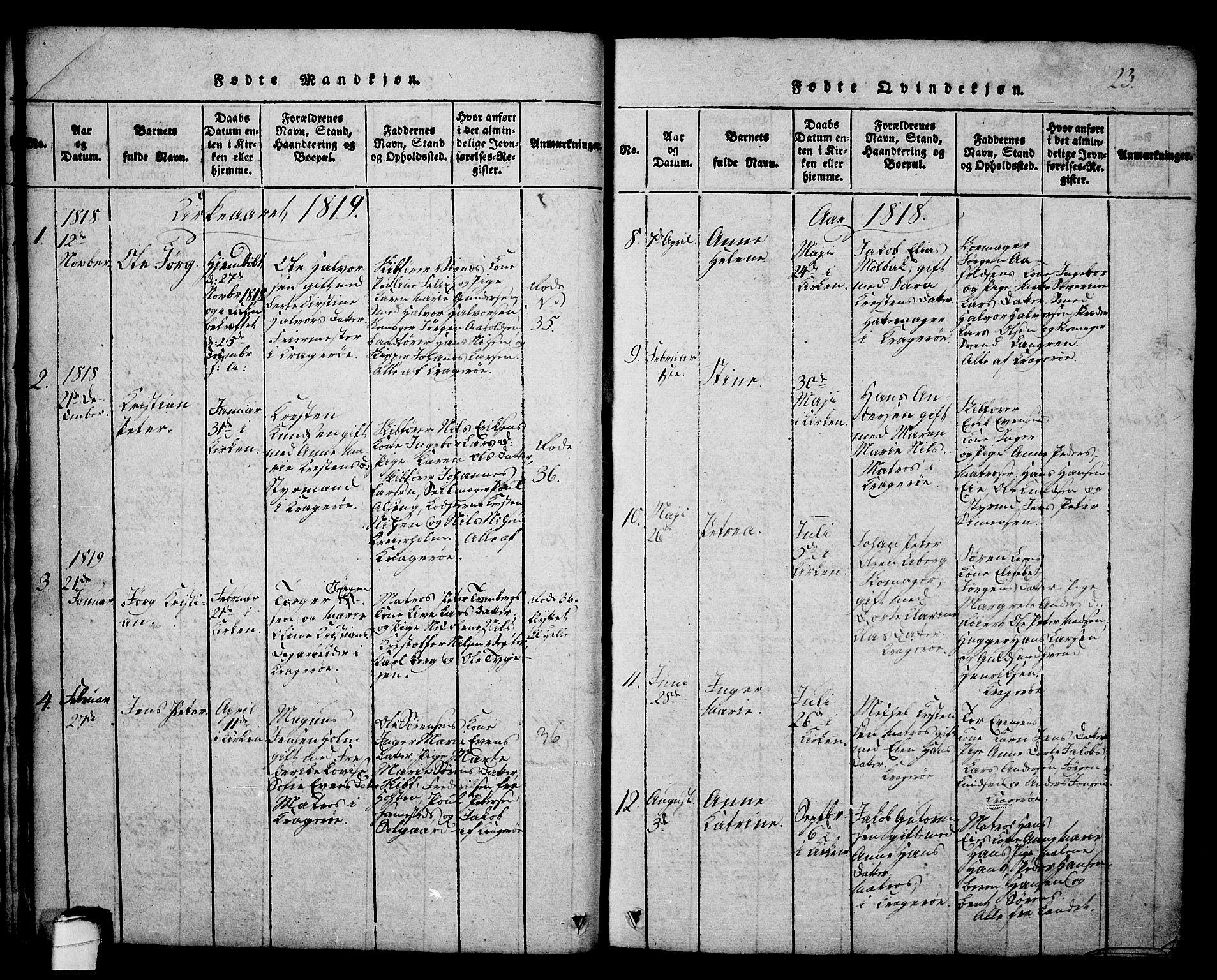 SAKO, Kragerø kirkebøker, G/Ga/L0002: Klokkerbok nr. 2, 1814-1831, s. 23