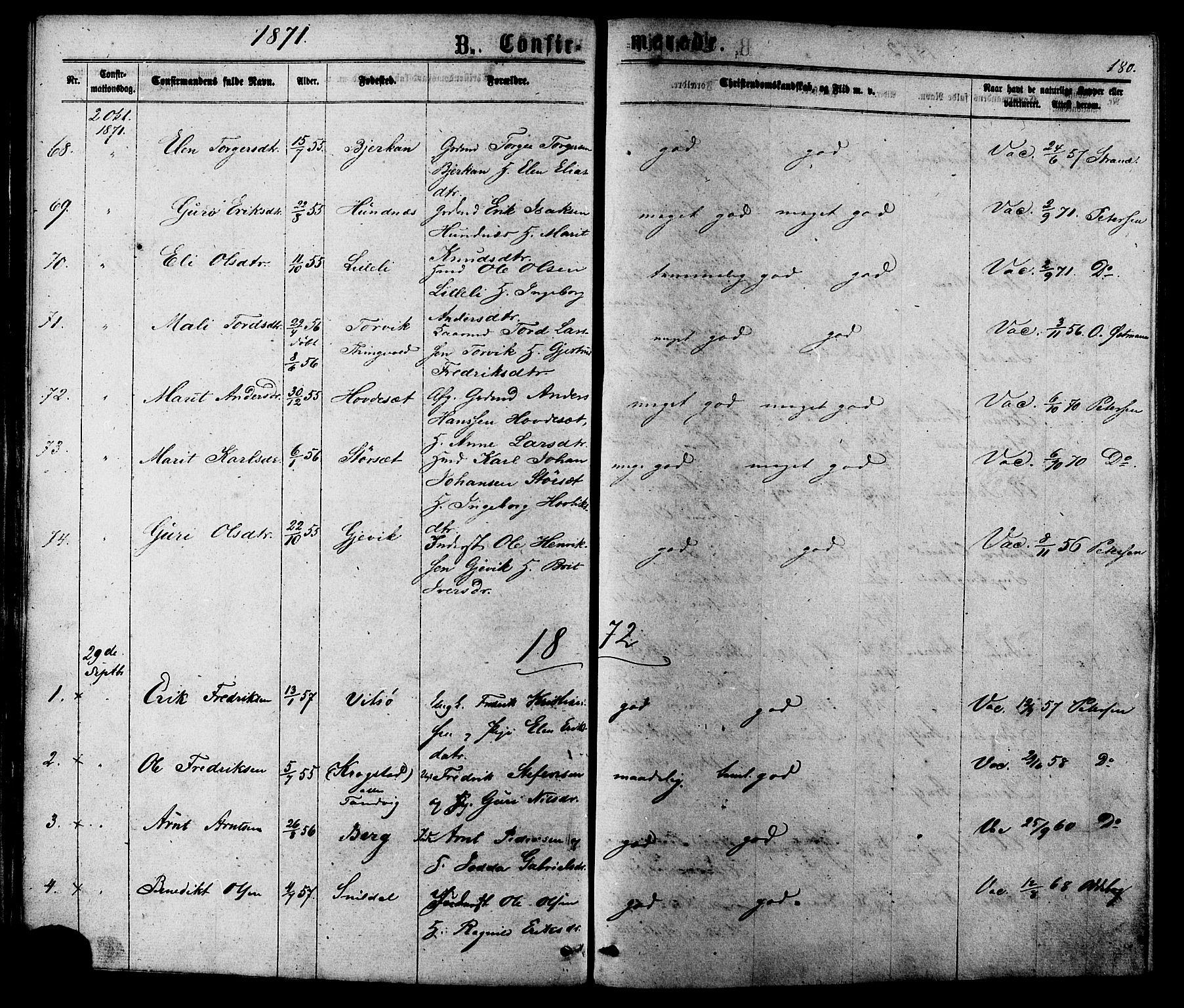 SAT, Ministerialprotokoller, klokkerbøker og fødselsregistre - Sør-Trøndelag, 630/L0495: Ministerialbok nr. 630A08, 1868-1878, s. 180