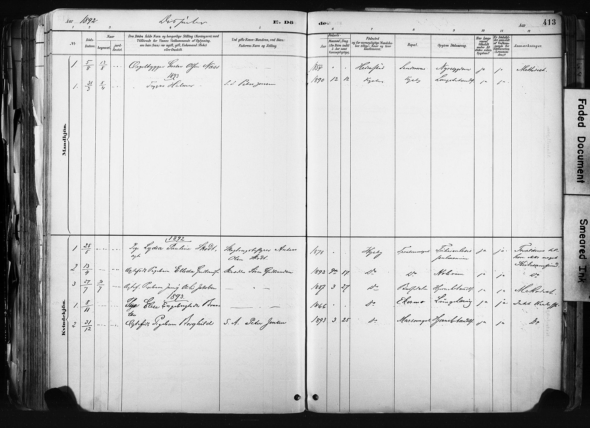 SAKO, Kongsberg kirkebøker, F/Fb/L0002: Ministerialbok nr. II 2, 1886-1896, s. 413