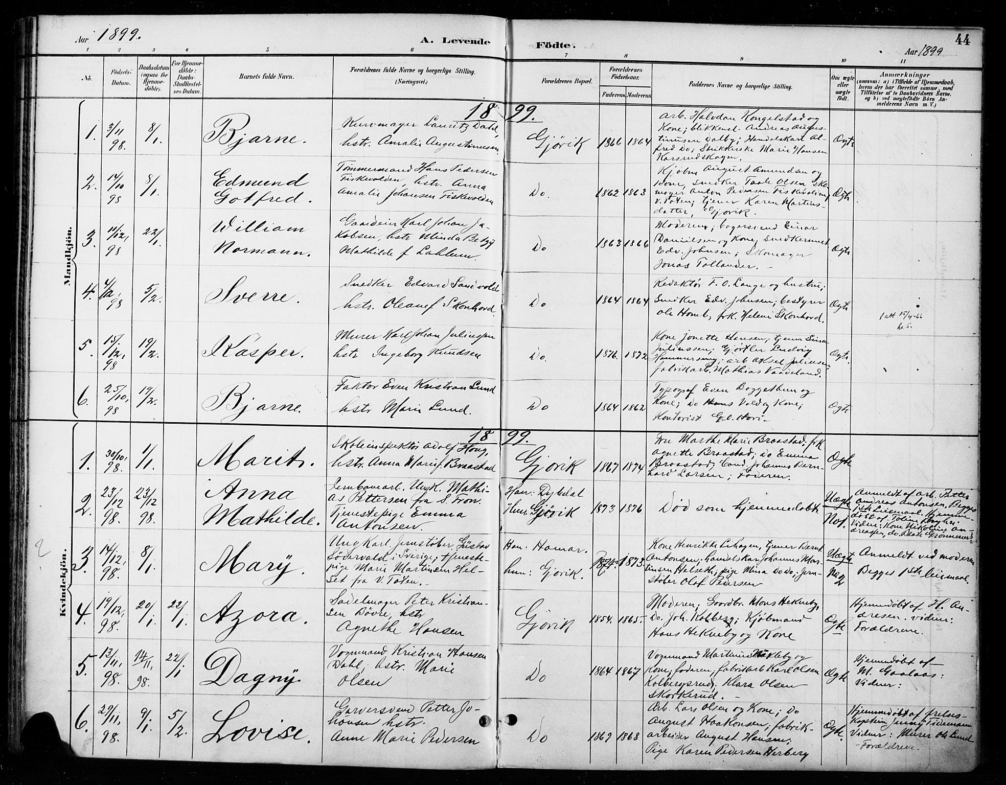 SAH, Vardal prestekontor, H/Ha/Haa/L0011: Ministerialbok nr. 11, 1891-1901, s. 44
