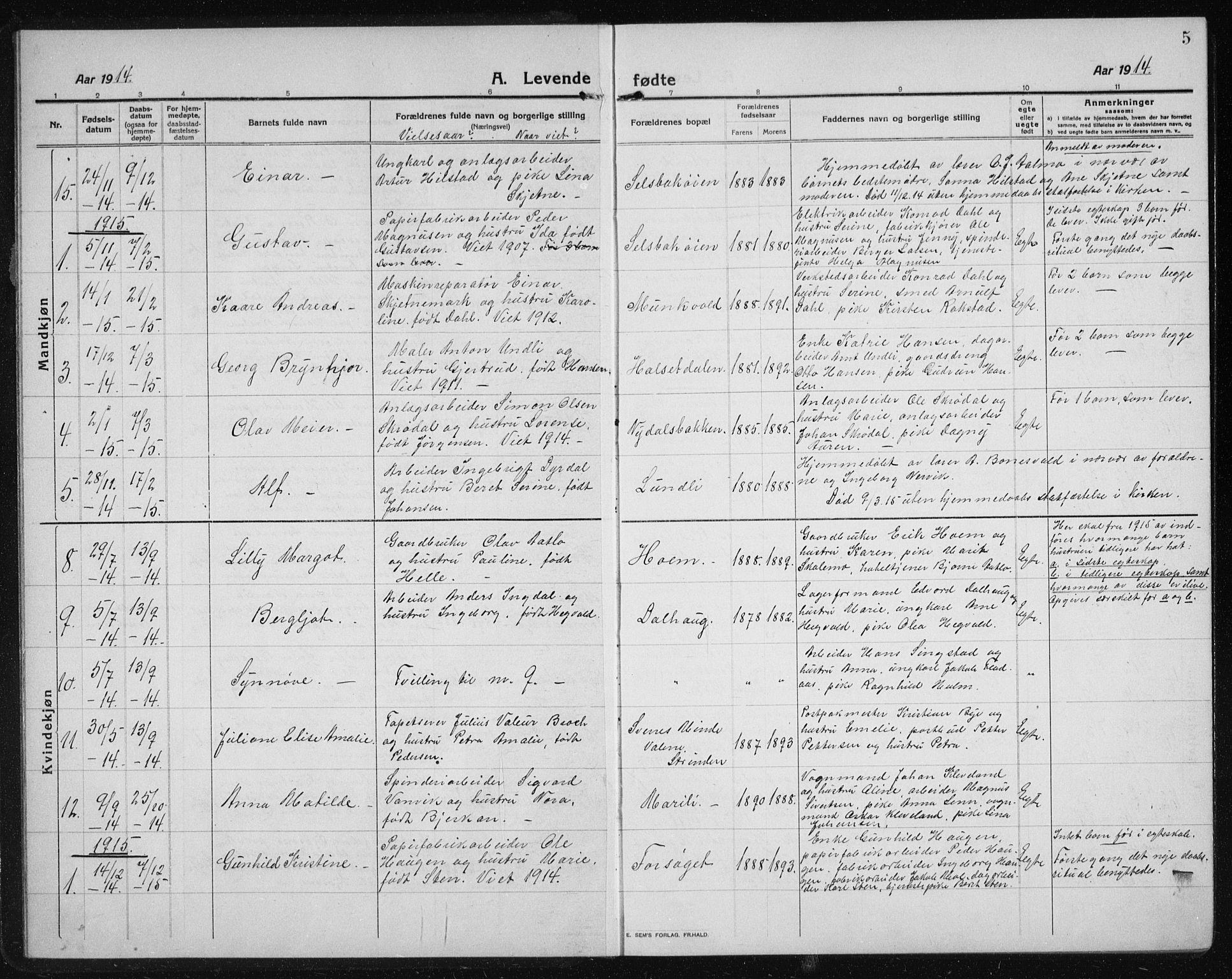 SAT, Ministerialprotokoller, klokkerbøker og fødselsregistre - Sør-Trøndelag, 611/L0356: Klokkerbok nr. 611C04, 1914-1938, s. 5