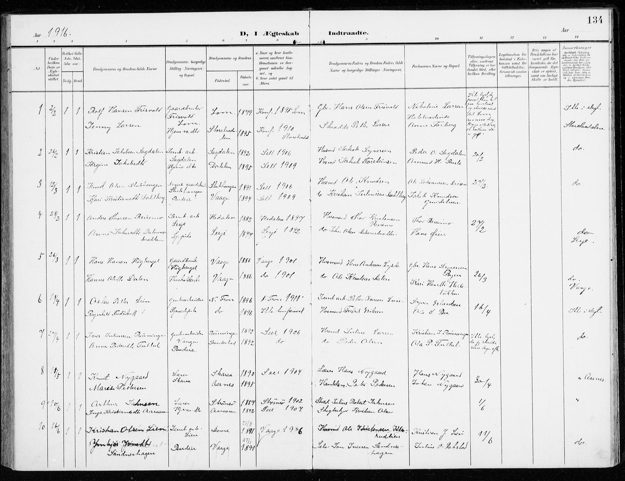 SAH, Sel prestekontor, Ministerialbok nr. 2, 1905-1919, s. 134