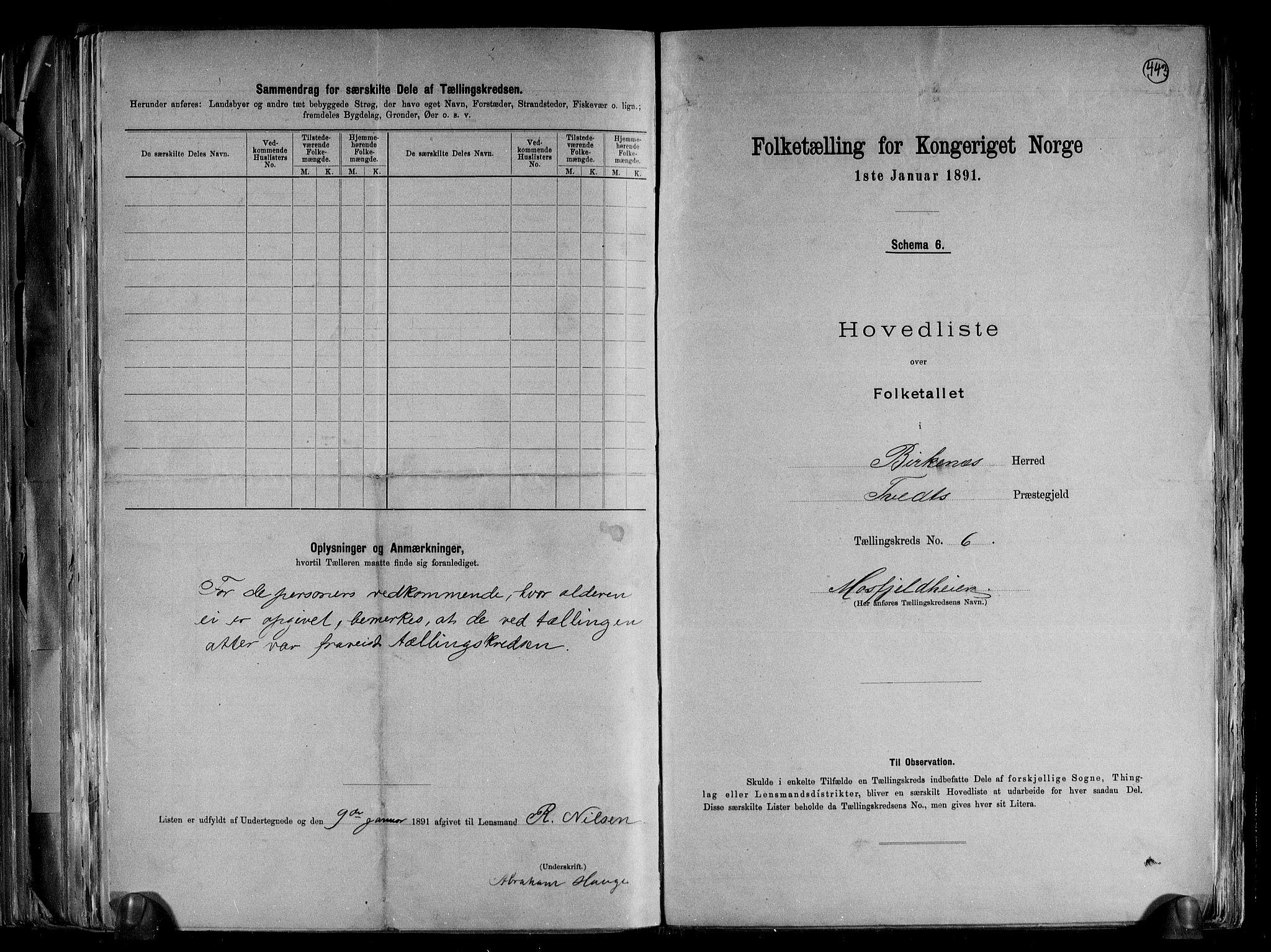 RA, Folketelling 1891 for 0928 Birkenes herred, 1891, s. 15