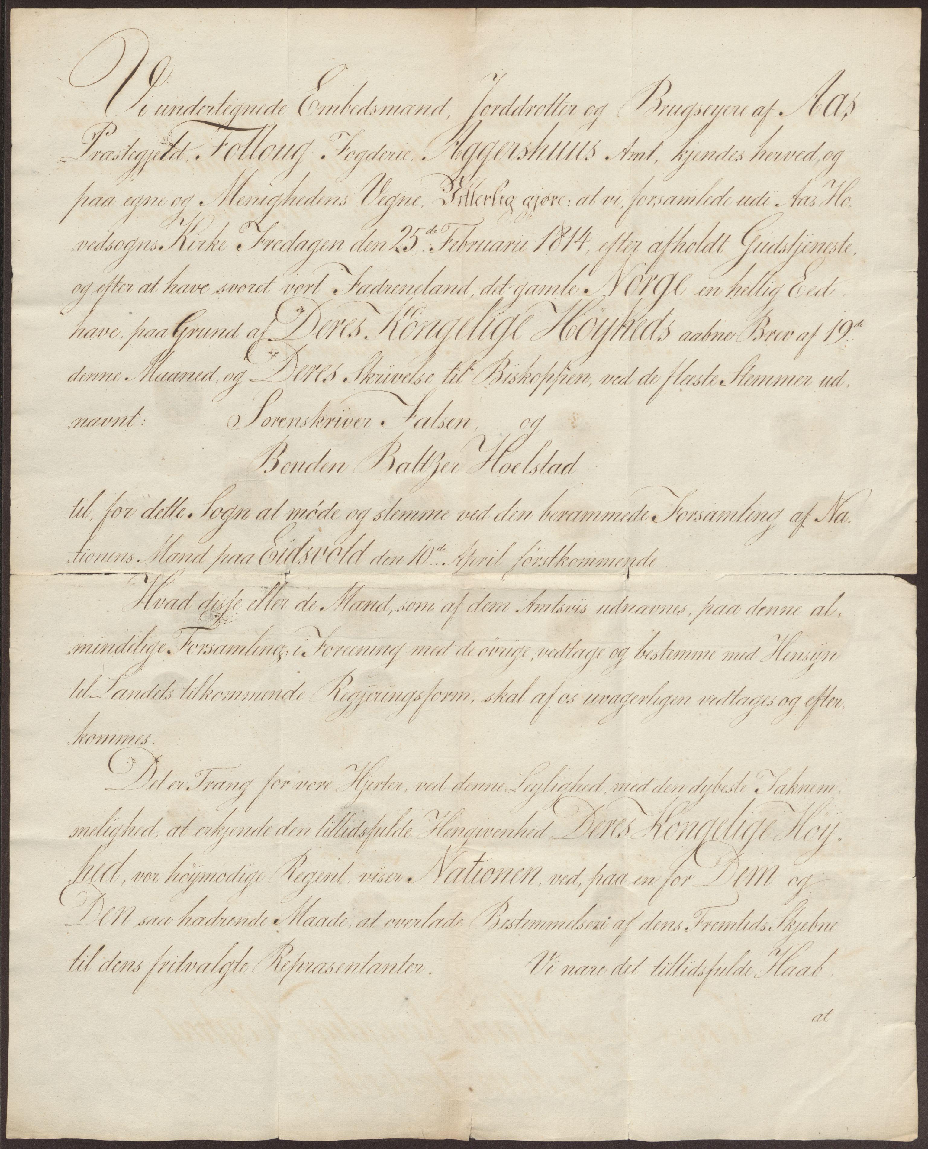 RA, Statsrådssekretariatet, D/Db/L0007: Fullmakter for Eidsvollsrepresentantene i 1814. , 1814, s. 212