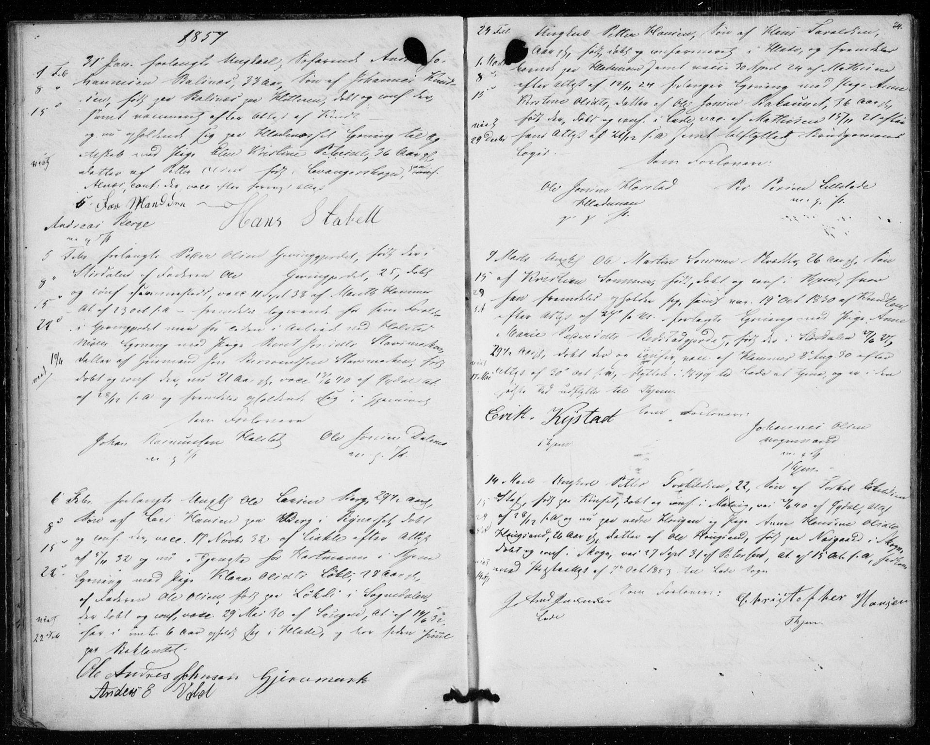 SAT, Ministerialprotokoller, klokkerbøker og fødselsregistre - Sør-Trøndelag, 606/L0297: Lysningsprotokoll nr. 606A12, 1854-1861, s. 24