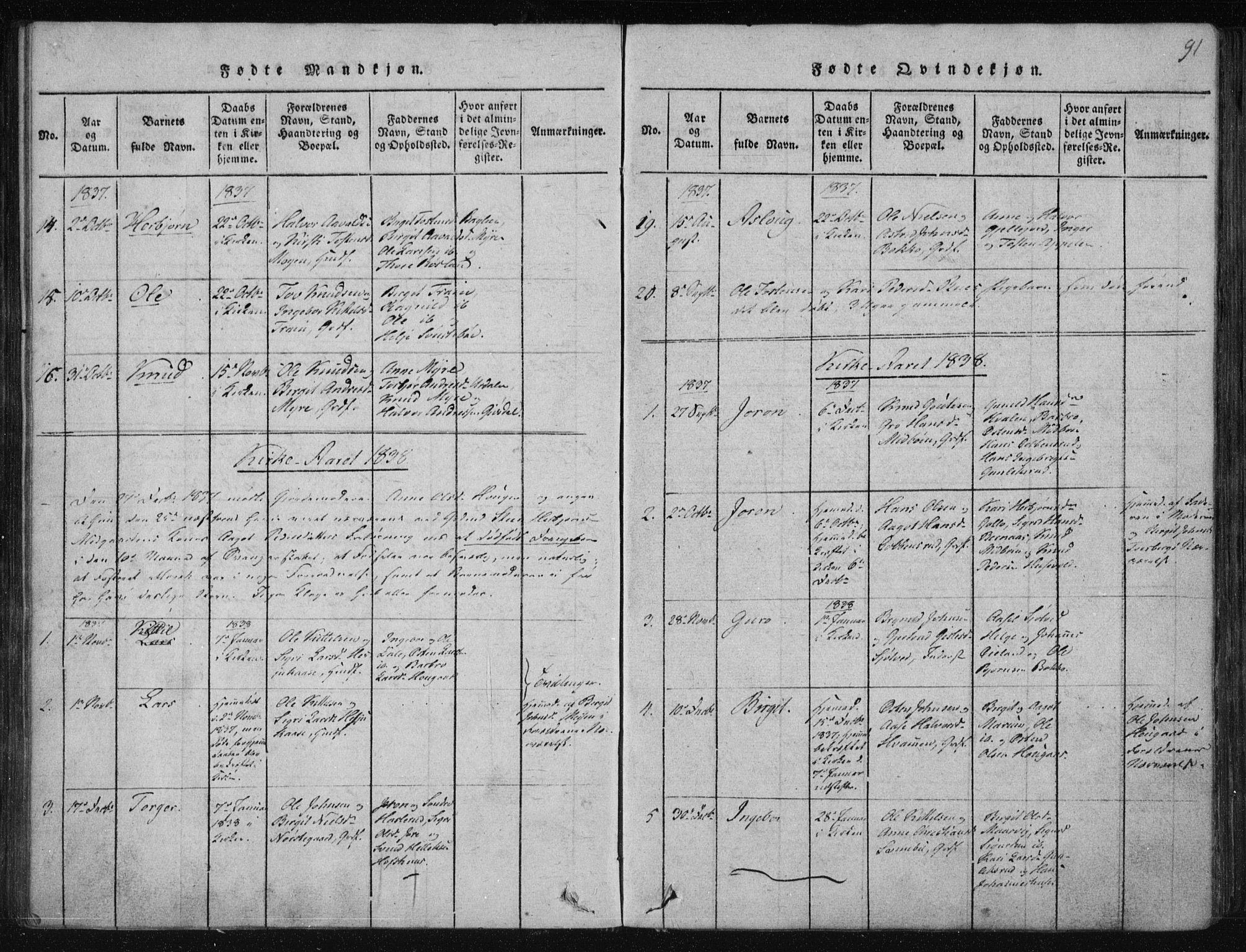 SAKO, Tinn kirkebøker, F/Fa/L0004: Ministerialbok nr. I 4, 1815-1843, s. 91