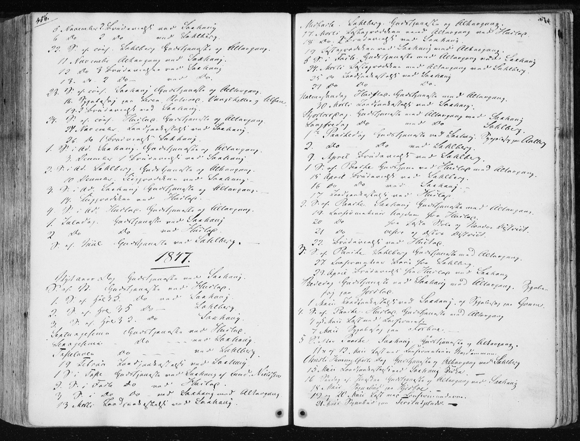SAT, Ministerialprotokoller, klokkerbøker og fødselsregistre - Nord-Trøndelag, 730/L0280: Ministerialbok nr. 730A07 /1, 1840-1854, s. 456