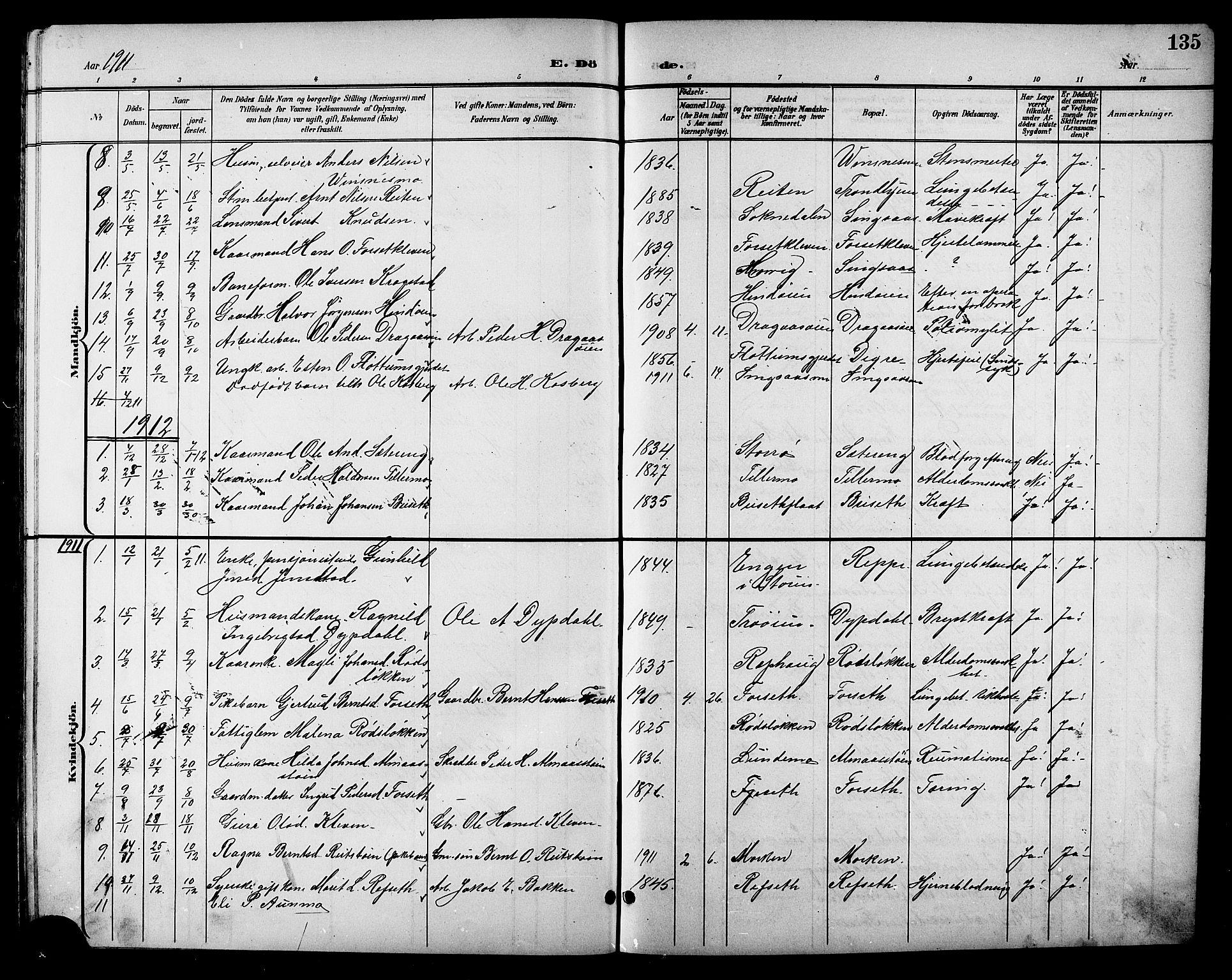 SAT, Ministerialprotokoller, klokkerbøker og fødselsregistre - Sør-Trøndelag, 688/L1029: Klokkerbok nr. 688C04, 1899-1915, s. 135