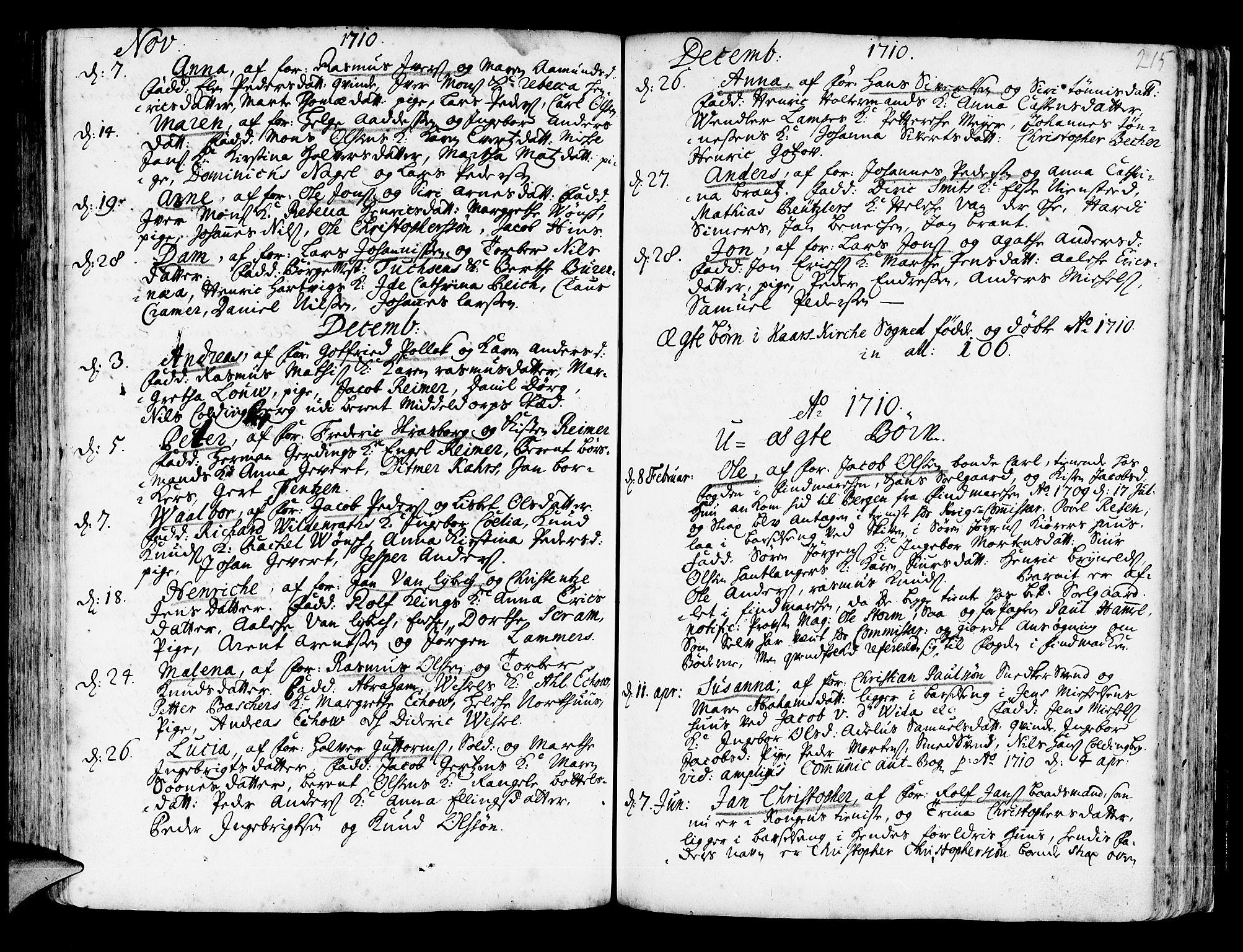 SAB, Korskirken Sokneprestembete, H/Haa/L0003: Ministerialbok nr. A 3, 1698-1719, s. 215