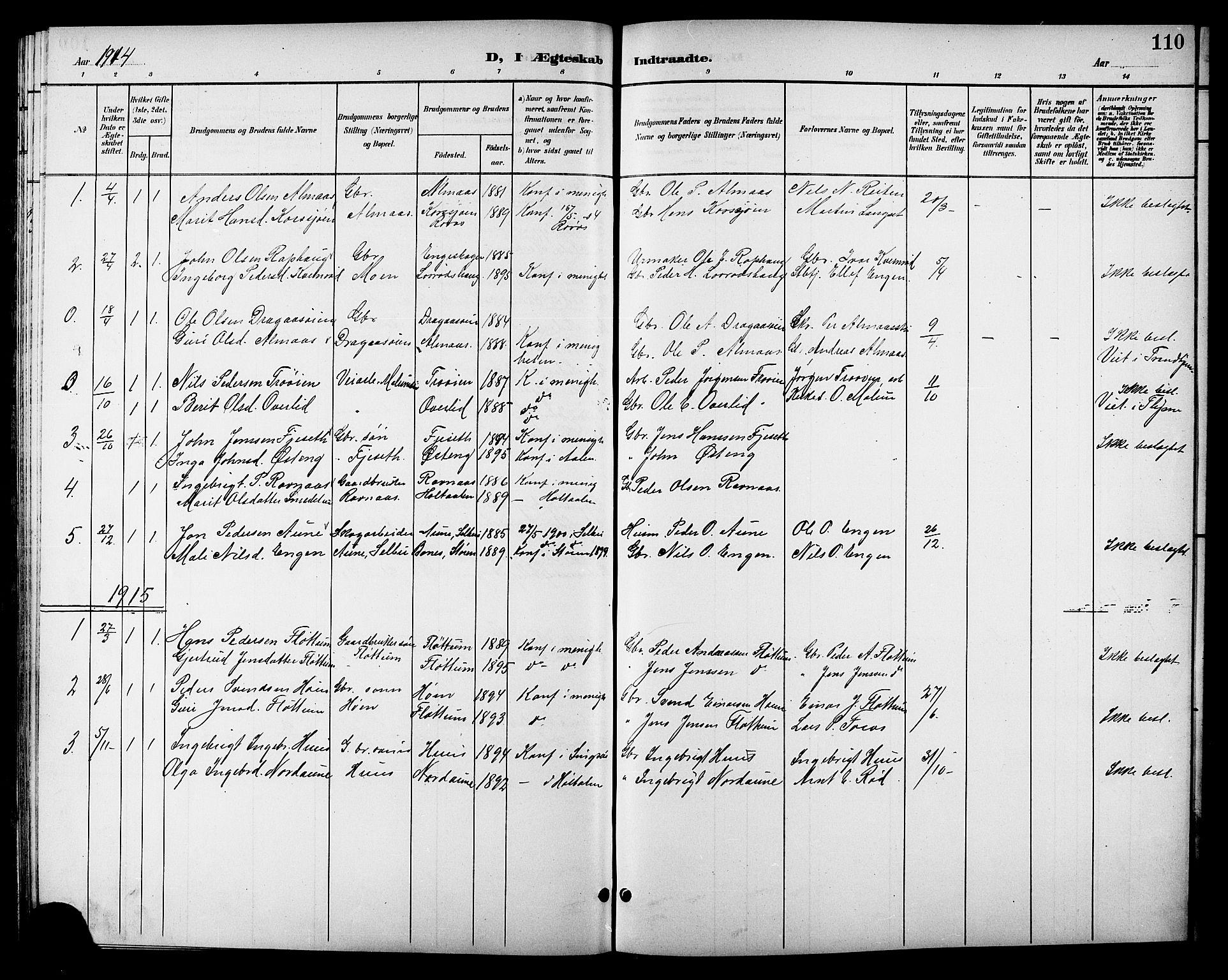 SAT, Ministerialprotokoller, klokkerbøker og fødselsregistre - Sør-Trøndelag, 688/L1029: Klokkerbok nr. 688C04, 1899-1915, s. 110
