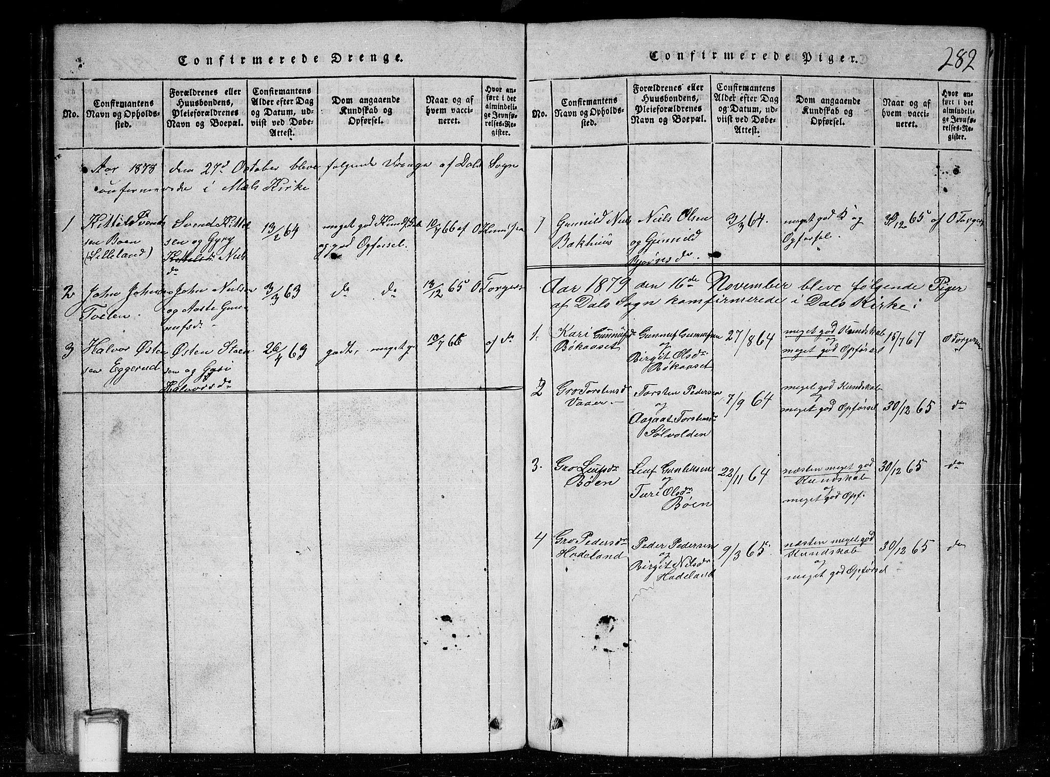 SAKO, Tinn kirkebøker, G/Gc/L0001: Klokkerbok nr. III 1, 1815-1879, s. 282