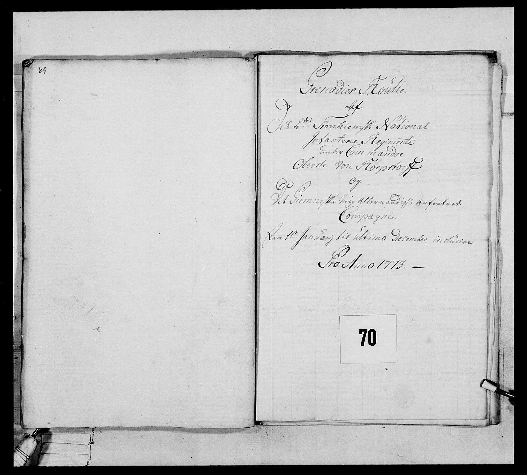 RA, Generalitets- og kommissariatskollegiet, Det kongelige norske kommissariatskollegium, E/Eh/L0076: 2. Trondheimske nasjonale infanteriregiment, 1766-1773, s. 305