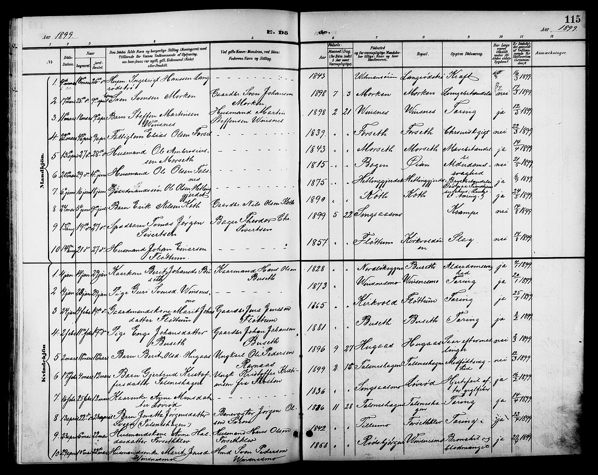 SAT, Ministerialprotokoller, klokkerbøker og fødselsregistre - Sør-Trøndelag, 688/L1029: Klokkerbok nr. 688C04, 1899-1915, s. 115