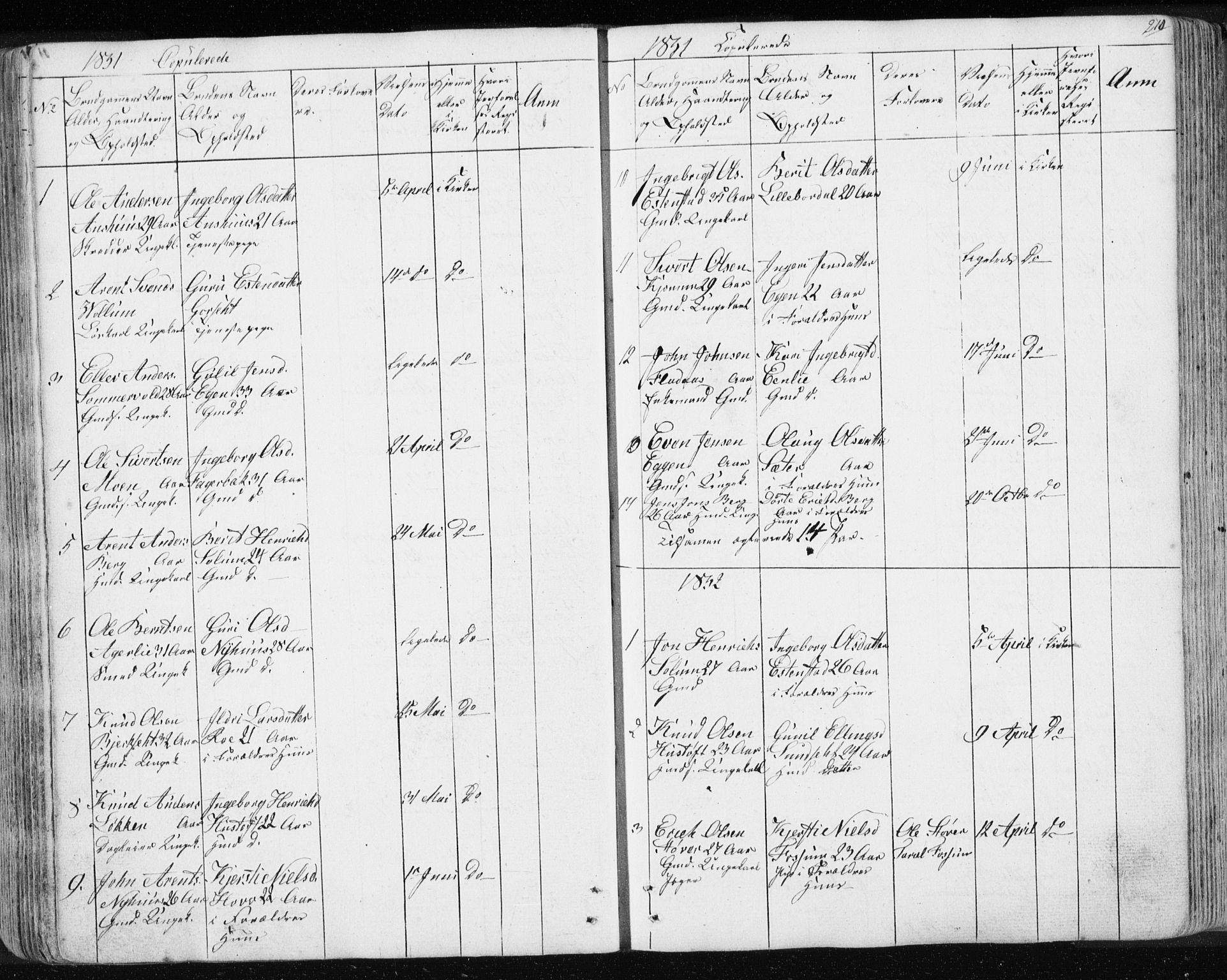 SAT, Ministerialprotokoller, klokkerbøker og fødselsregistre - Sør-Trøndelag, 689/L1043: Klokkerbok nr. 689C02, 1816-1892, s. 210