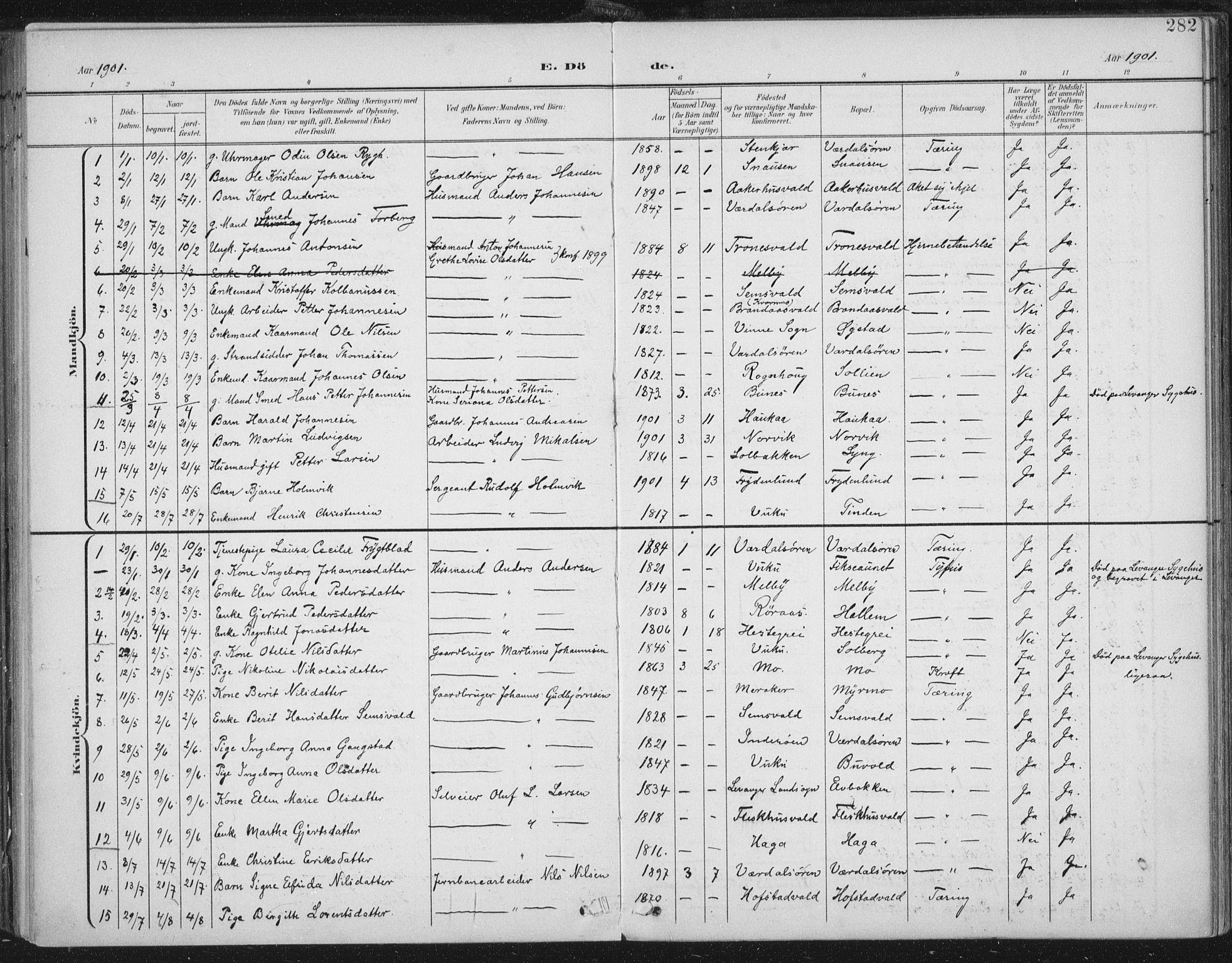 SAT, Ministerialprotokoller, klokkerbøker og fødselsregistre - Nord-Trøndelag, 723/L0246: Ministerialbok nr. 723A15, 1900-1917, s. 282