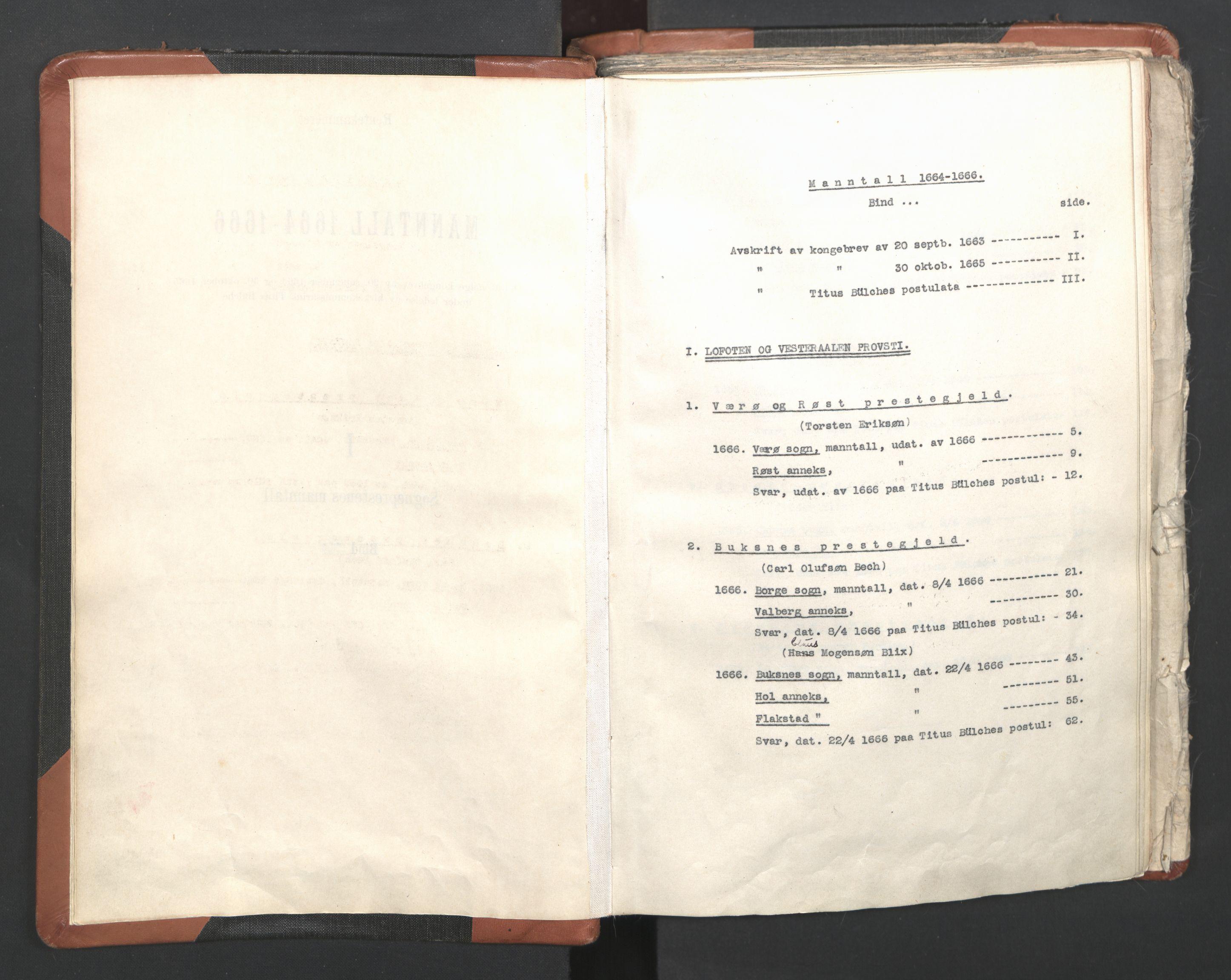 RA, Sogneprestenes manntall 1664-1666, nr. 36: Lofoten og Vesterålen prosti, Senja prosti og Troms prosti, 1664-1666, s. upaginert