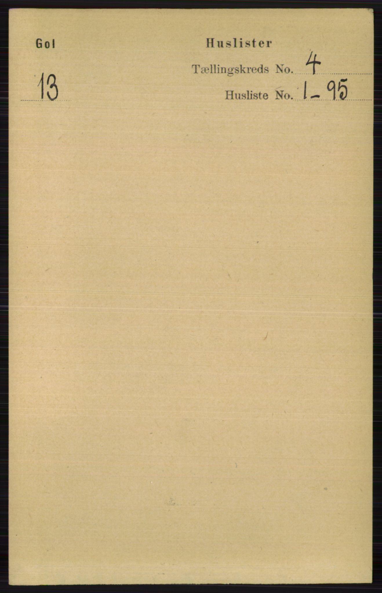 RA, Folketelling 1891 for 0617 Gol og Hemsedal herred, 1891, s. 1709