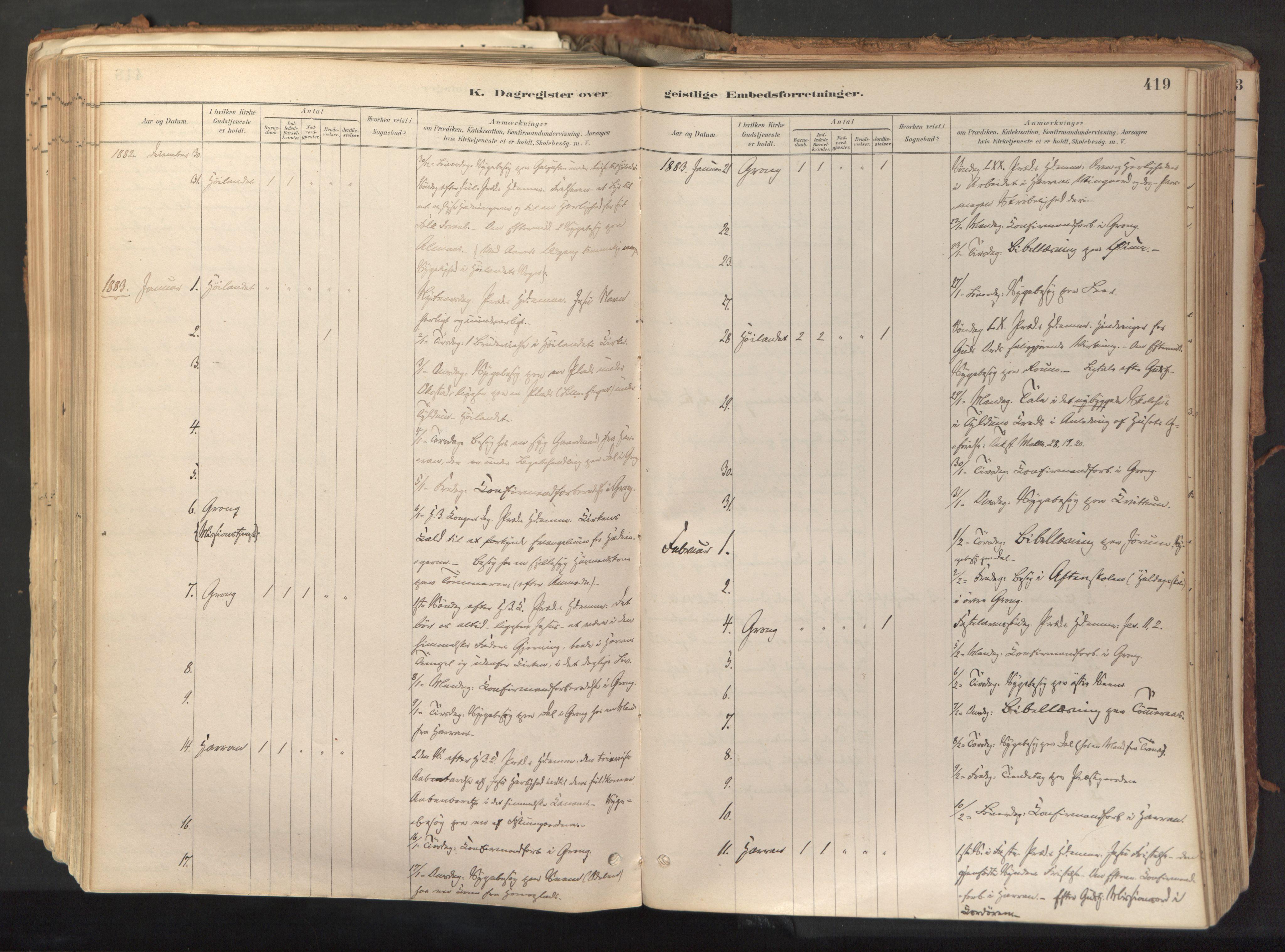 SAT, Ministerialprotokoller, klokkerbøker og fødselsregistre - Nord-Trøndelag, 758/L0519: Ministerialbok nr. 758A04, 1880-1926, s. 419