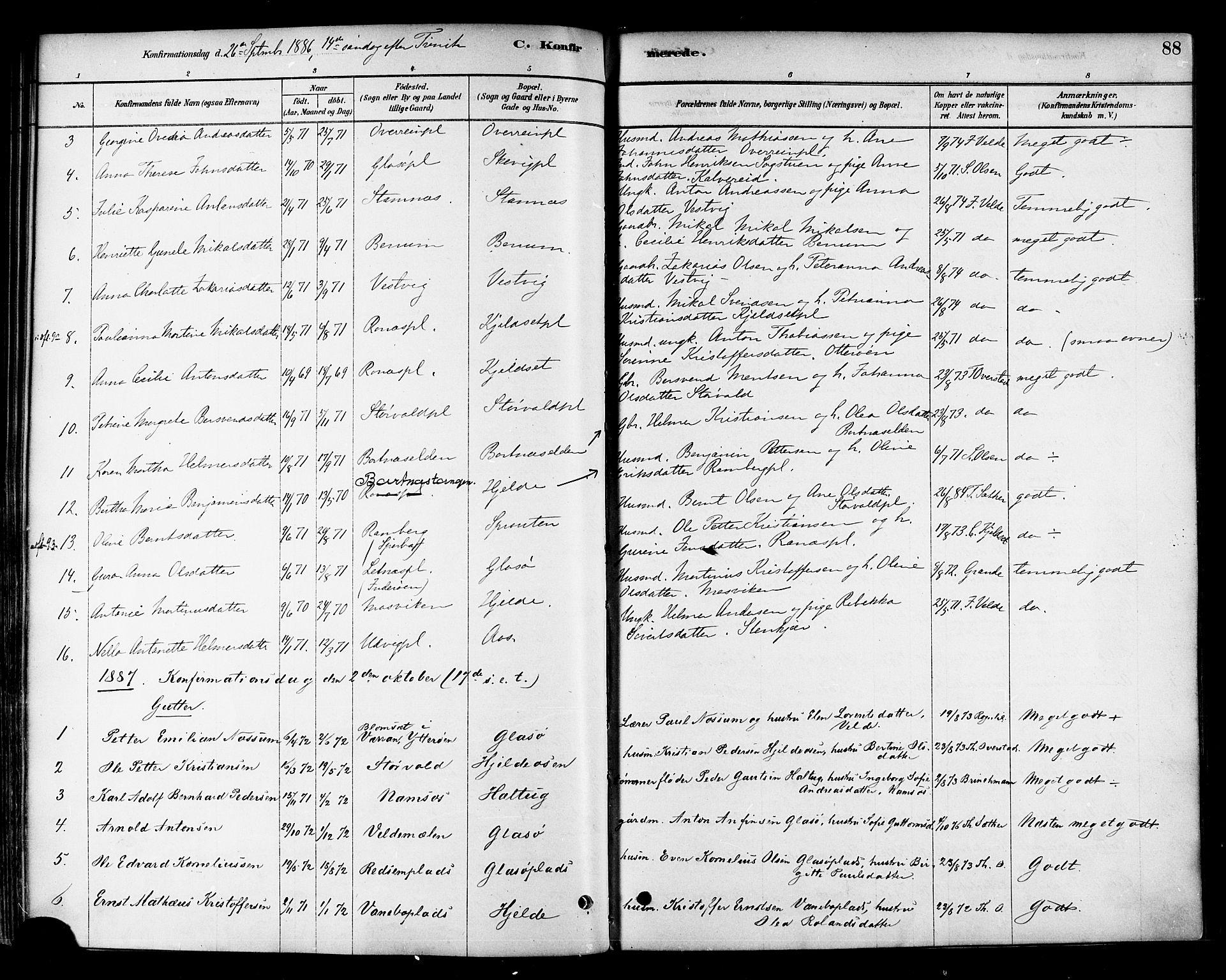 SAT, Ministerialprotokoller, klokkerbøker og fødselsregistre - Nord-Trøndelag, 741/L0395: Ministerialbok nr. 741A09, 1878-1888, s. 88