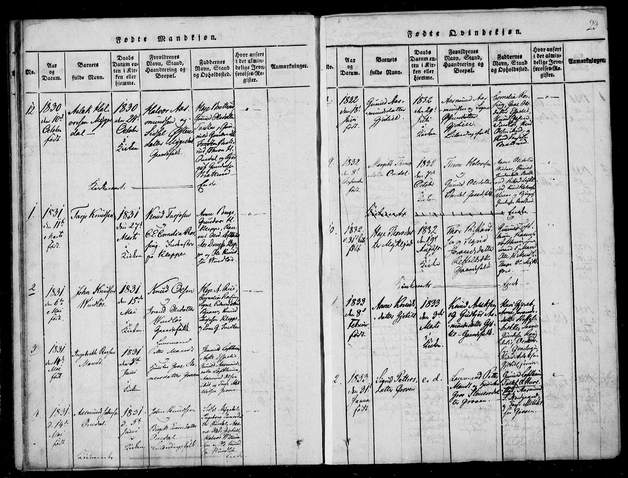 SAKO, Lårdal kirkebøker, F/Fb/L0001: Ministerialbok nr. II 1, 1815-1860, s. 23
